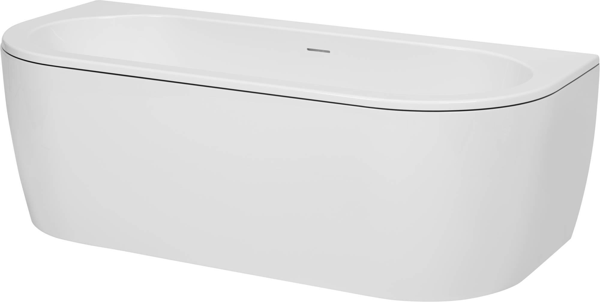 Saniselect Hilla Bad Back-to-Wall met zwarte rand en witte waste cover 180x81,5x44 cm Wit