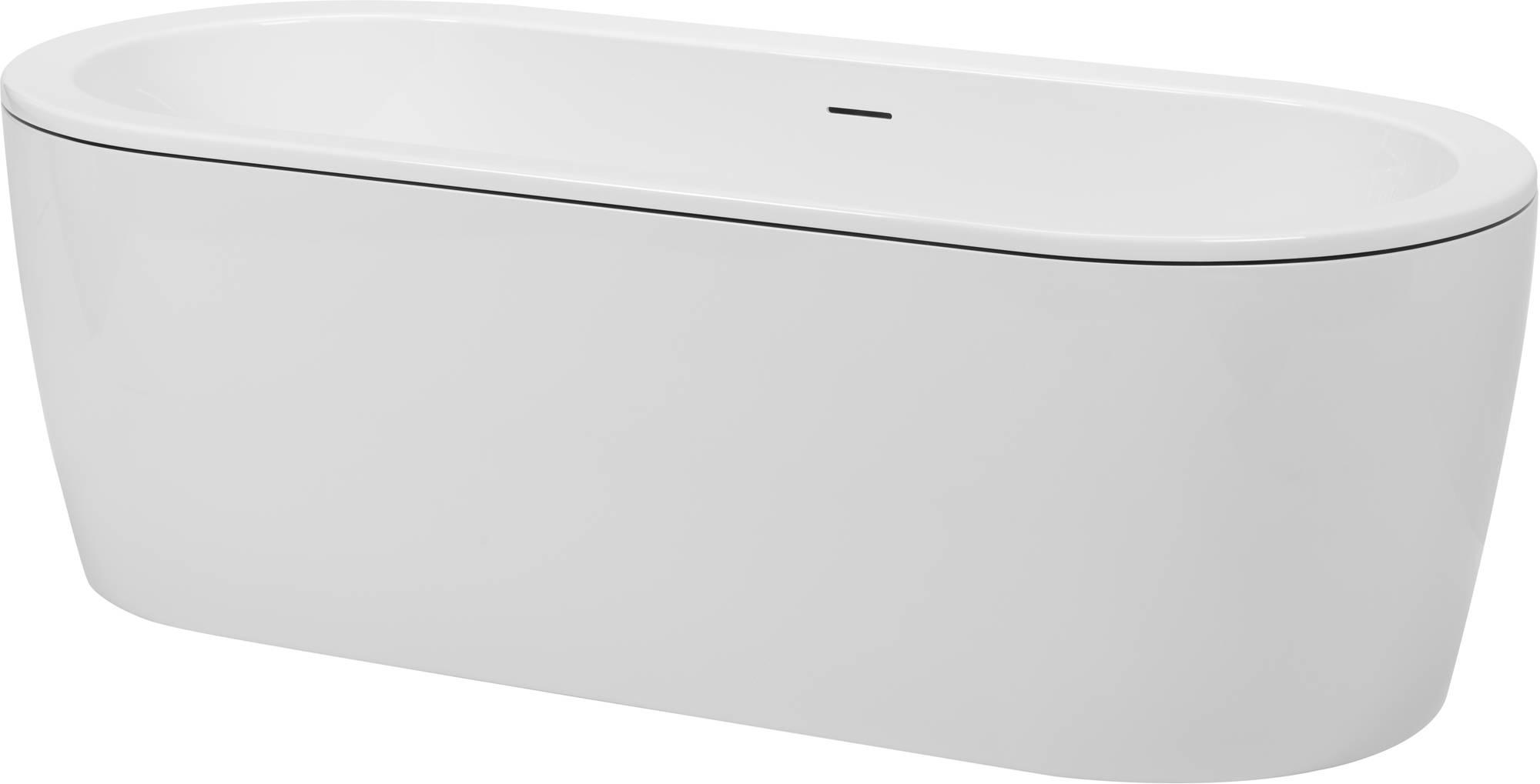Saniselect Bad Vrijstaand 180x80x60 cm Wit met Zwart Rand