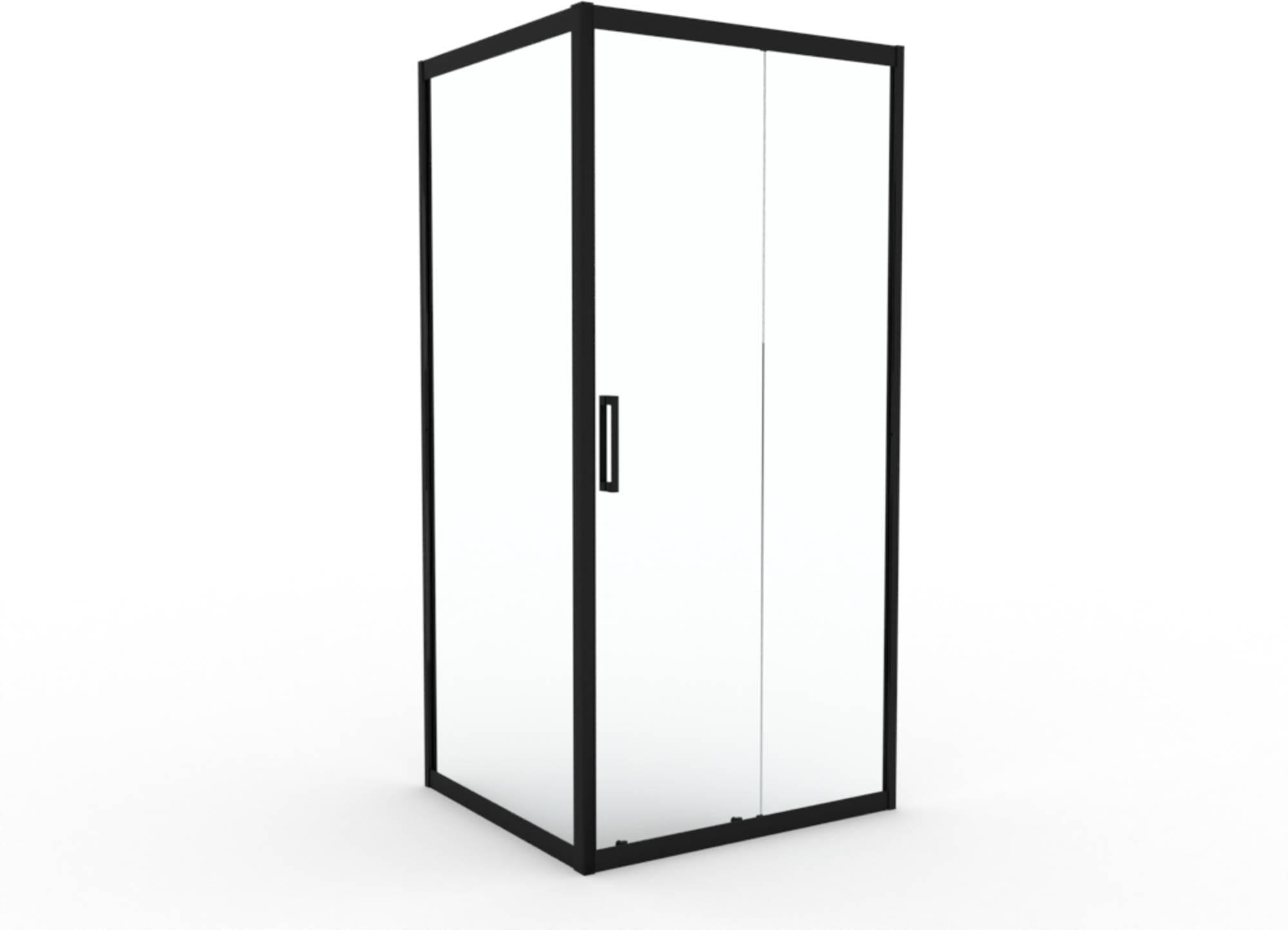 Saniselect Jossa Zijwand 90x200 cm Helder Glas/Mat Zwart