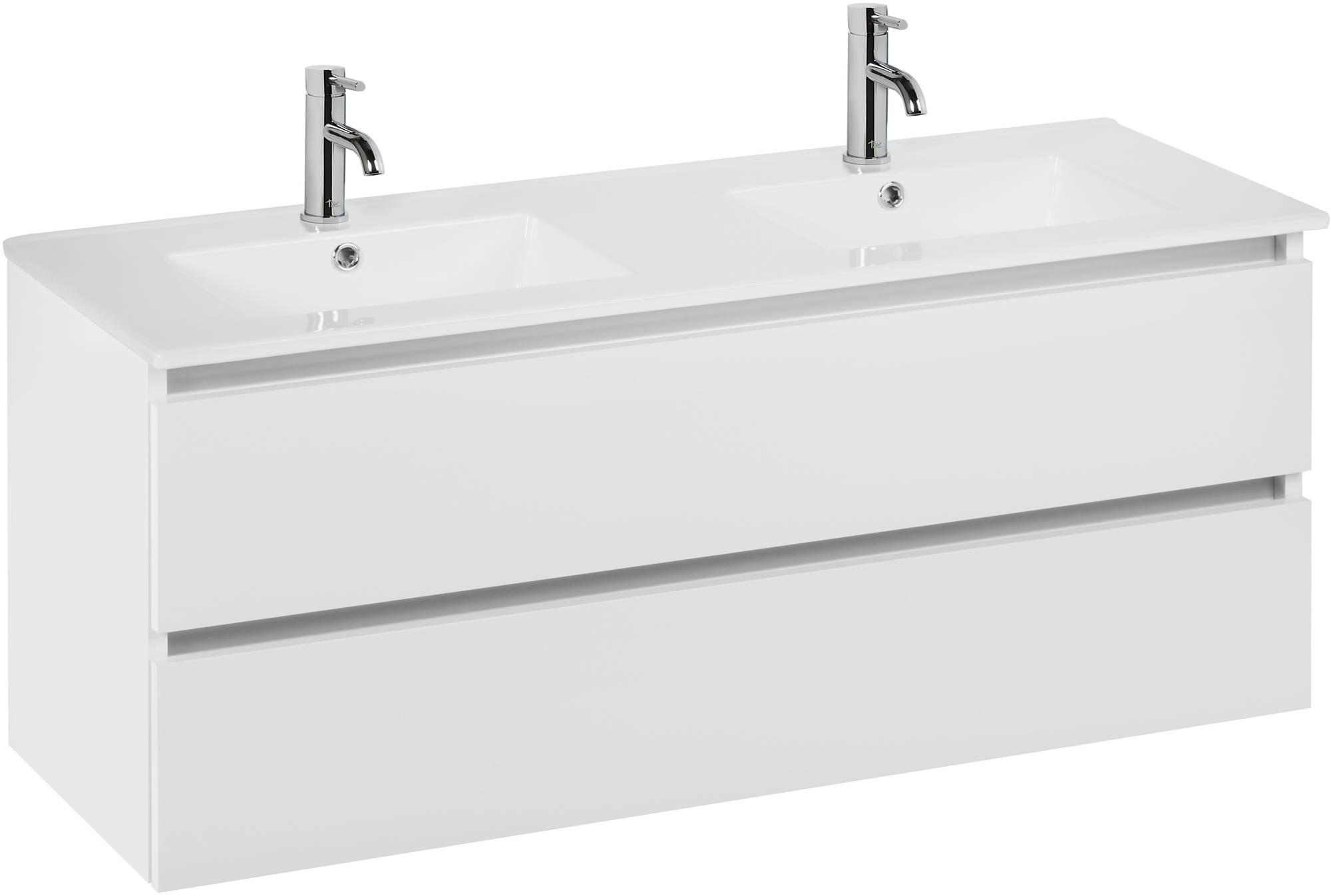 Ben Limara wastafelmeubelset 120cm wastafel keramiek glans wit/aluminium