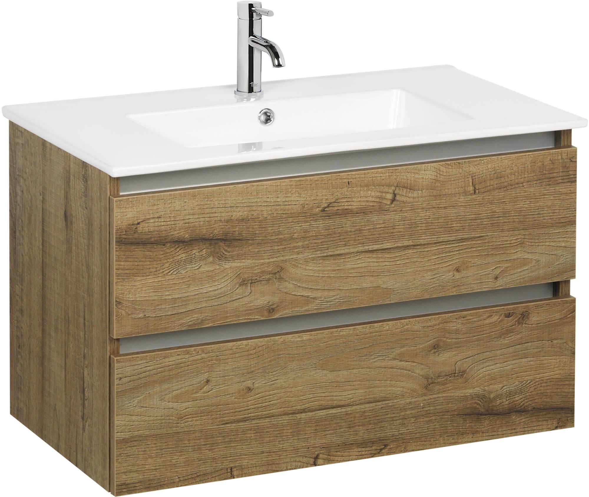 Ben Limara wastafelmeubelset 80cm wastafel keramiek sherwood/aluminium