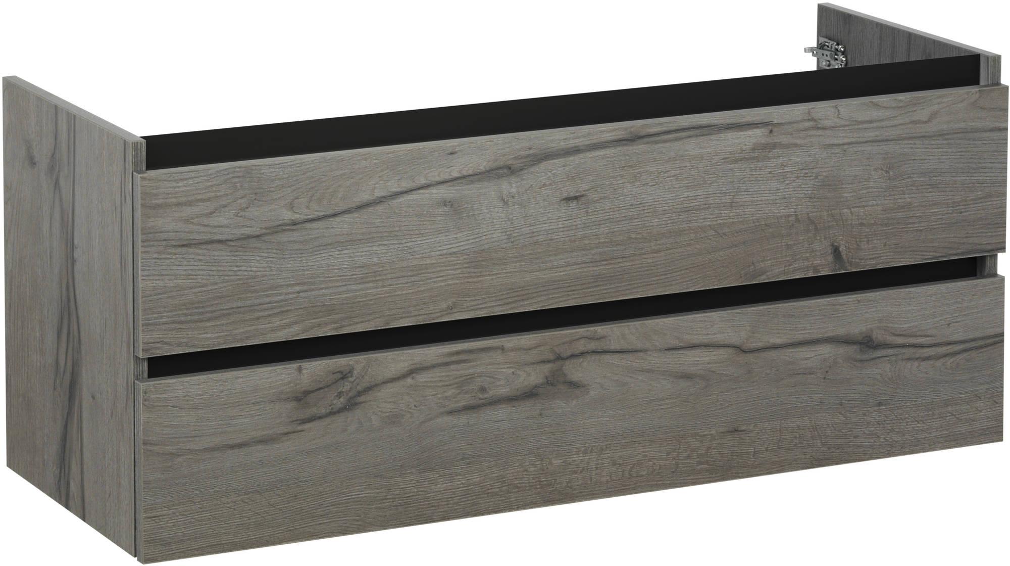 Ben Limara Wastafelonderkast 2 laden, 140x44,5x50 cm, Cape Elm/Mat Zwart