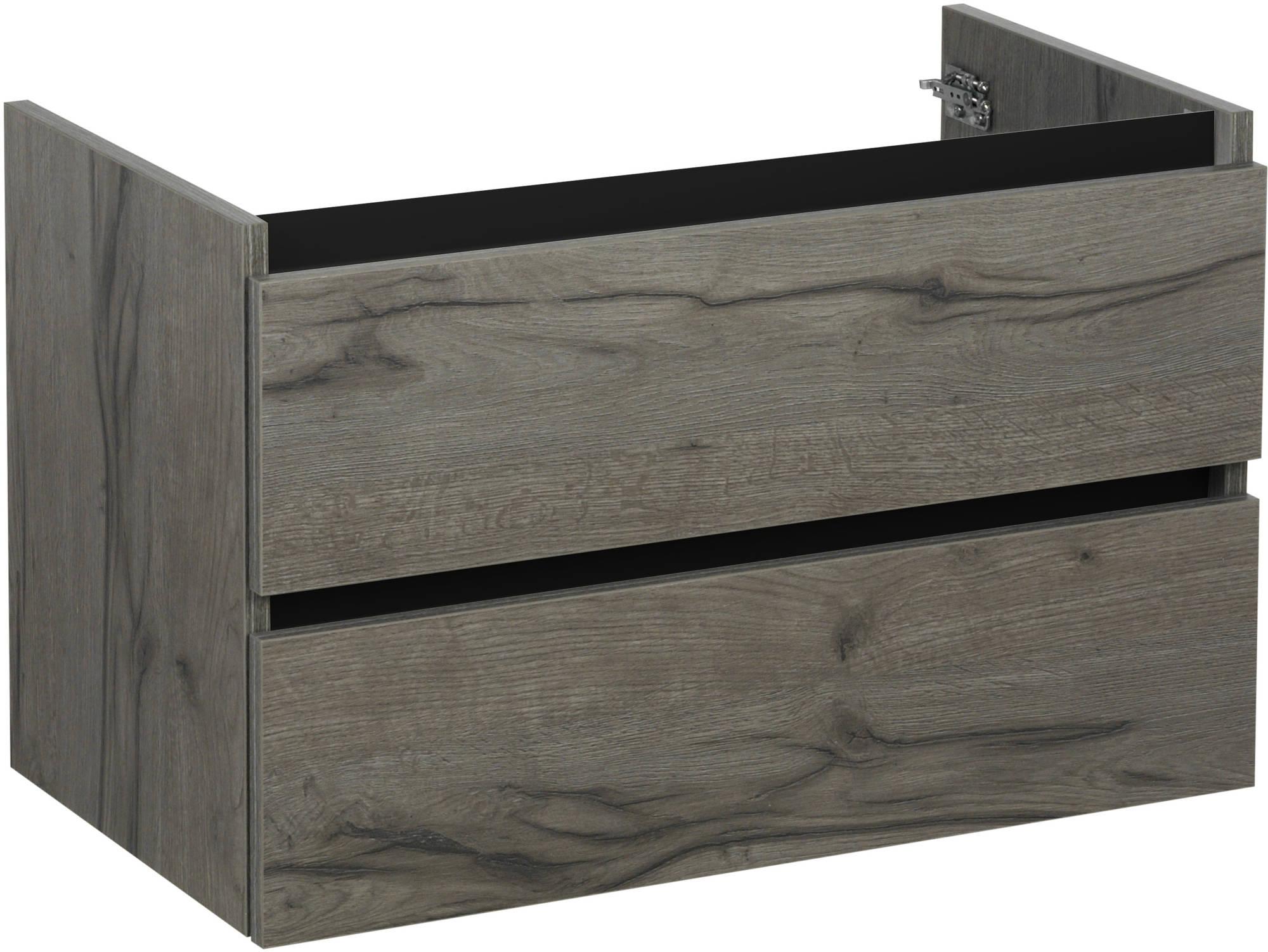 Ben Limara Wastafelonderkast 2 laden, 60x44,5x50 cm, Cape Elm/Mat Zwart