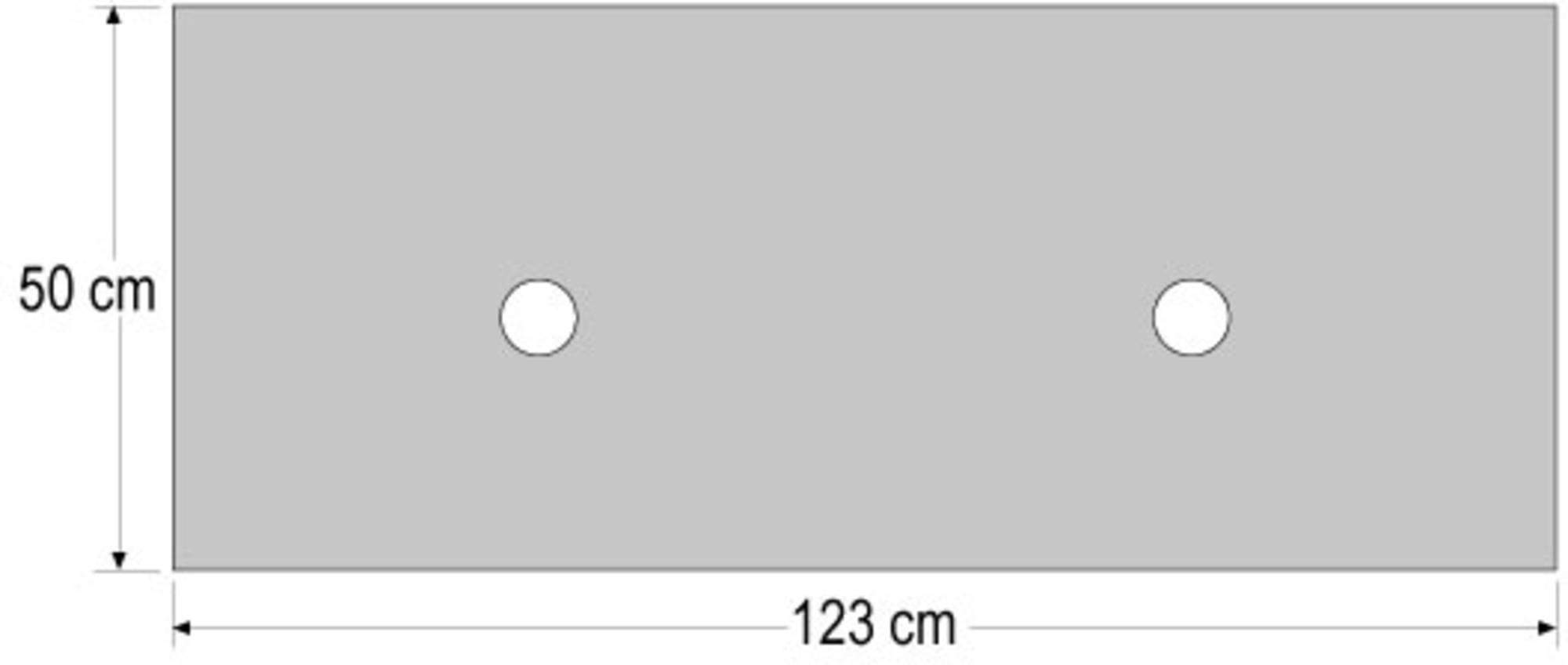 Ben Maison Wastafelblad Graniet zonder kraangat 123x50x4 cm Grijs/Zwart
