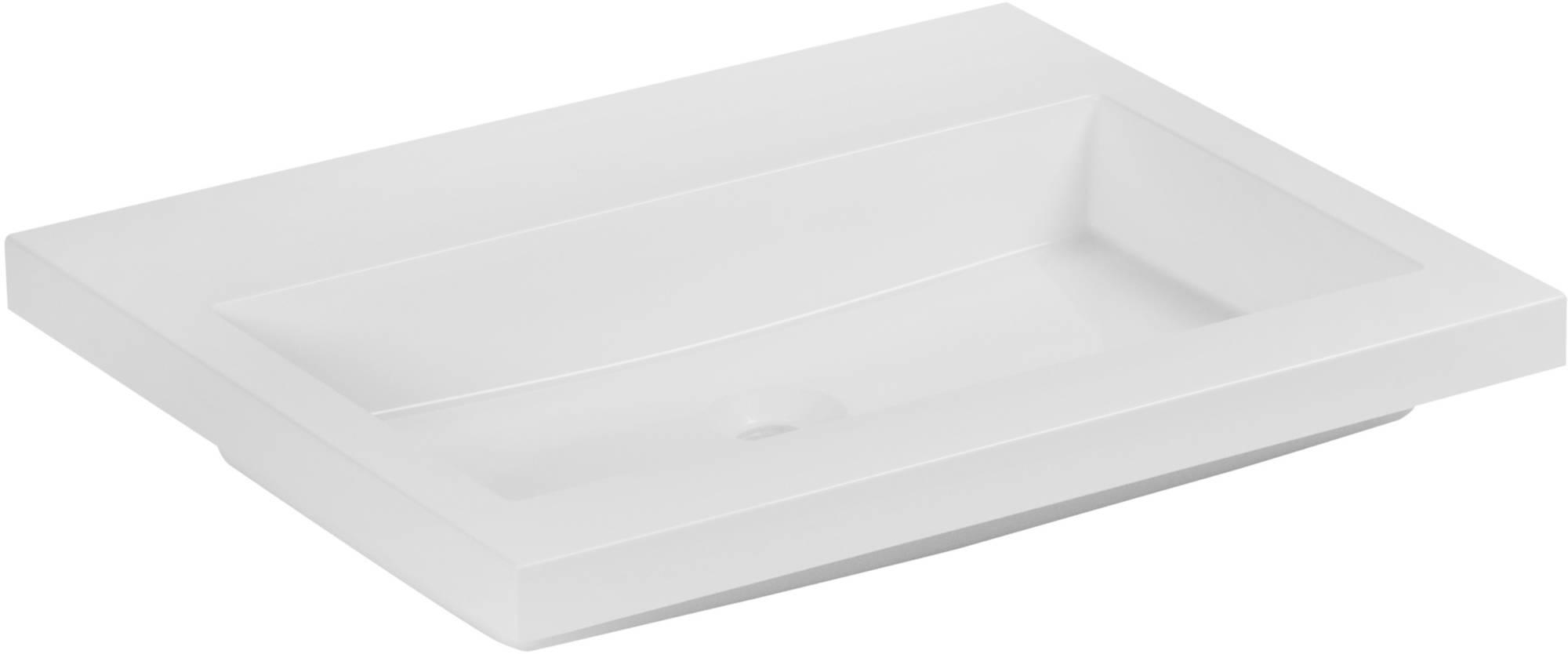 Ben Straight Wastafel zonder kraangat 60,5x51,5x4 cm Wit