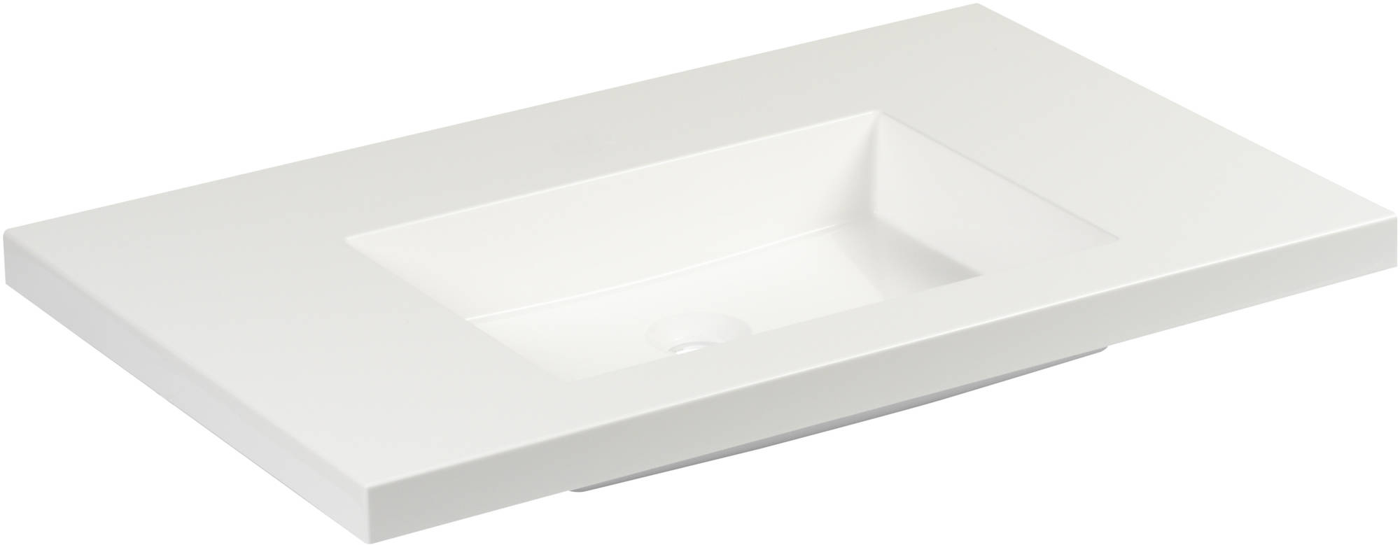 Ben Straight Wastafel zonder kraangat 80x51 cm Wit