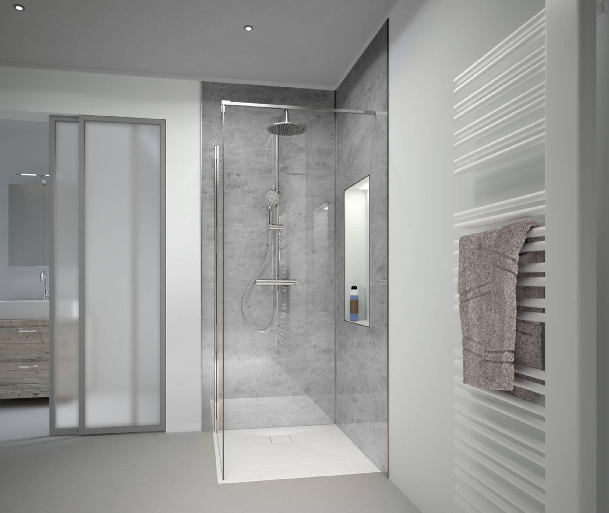 Duschprofi RenoDeco paneel Alu 100x210 cm natuursteen asgrijs hoogglans