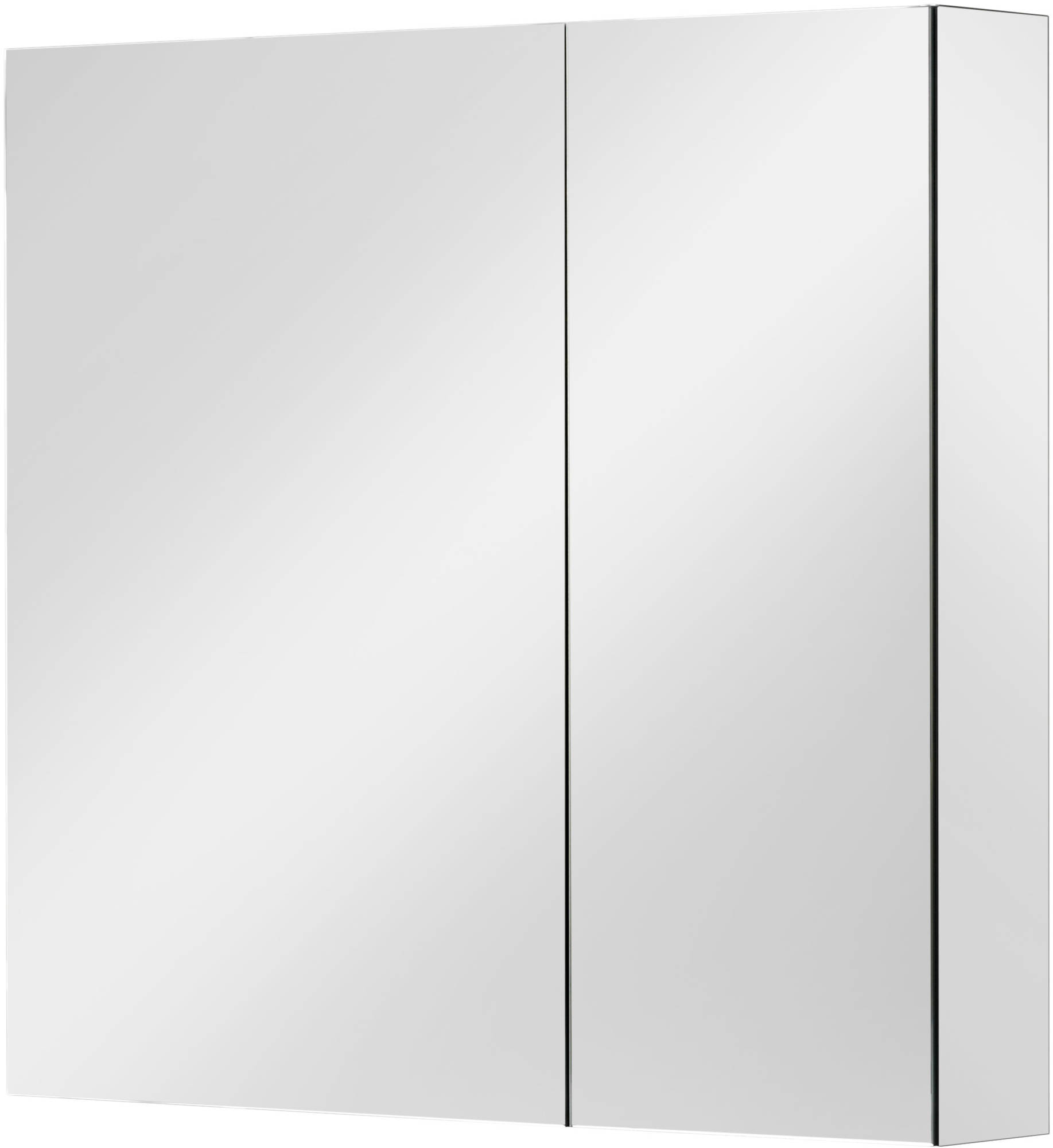 Ben Vario spiegelkast,2 ongelijke delen,links,70x14x75cm, spiegelmelamine omtrokken zijpanelen