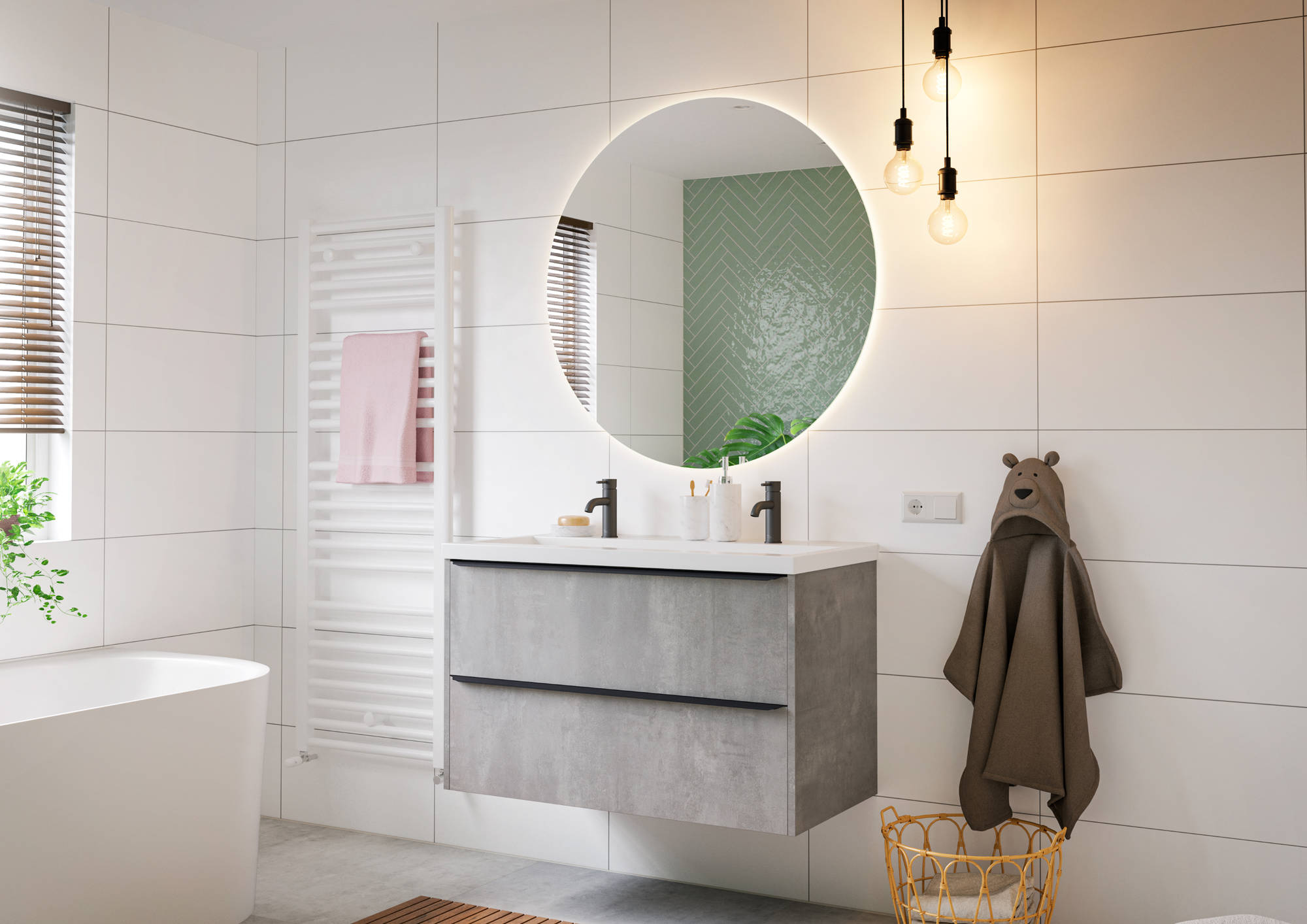 Saniselect Socan Wastafelonderkast 120x39,5x60 cm Beton Grijs