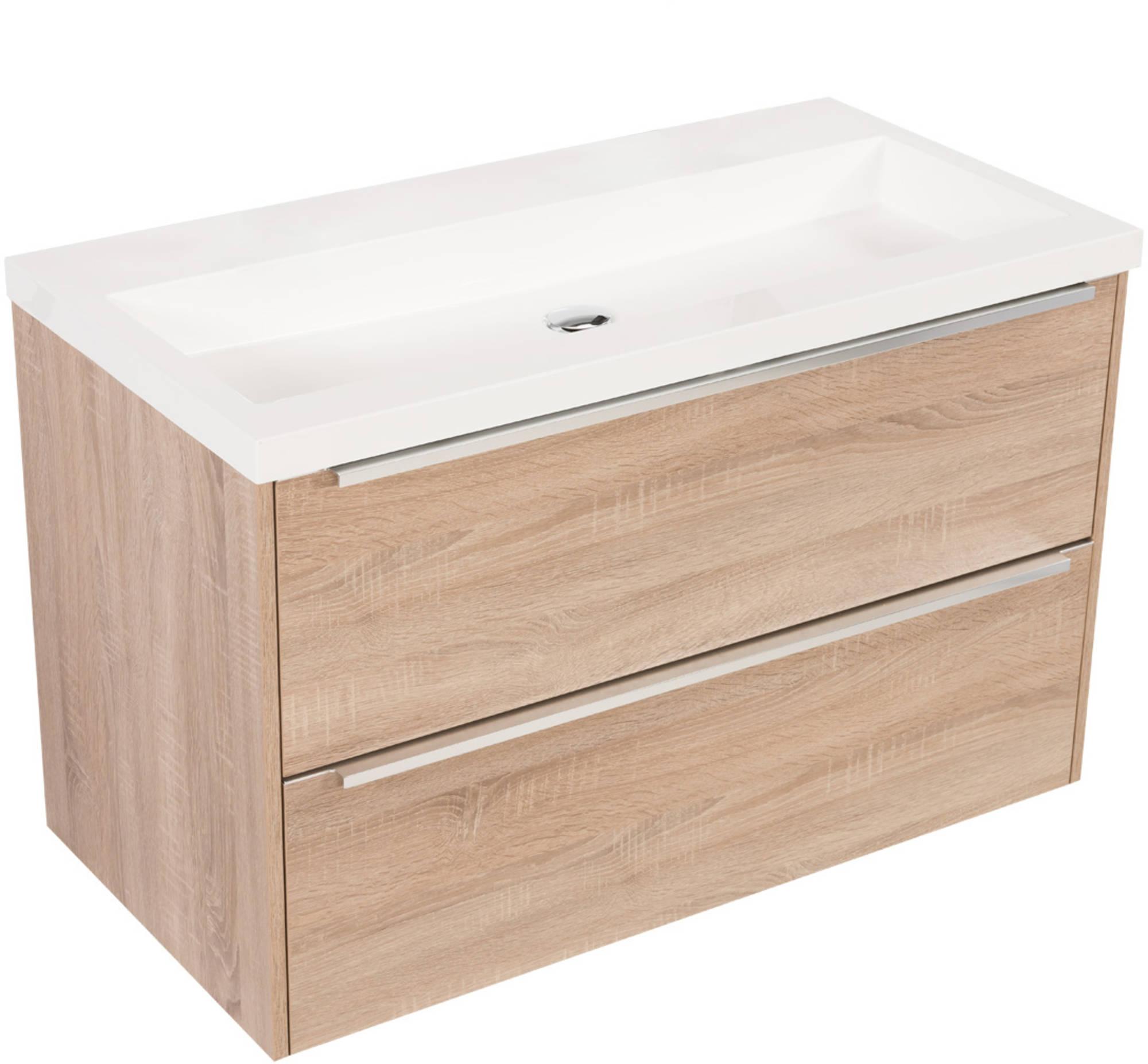 Saniselect Socan meubelset 2 lades met mineraalmarmere wastafel 100cm Bardolino Eiken Zonder Kraanga