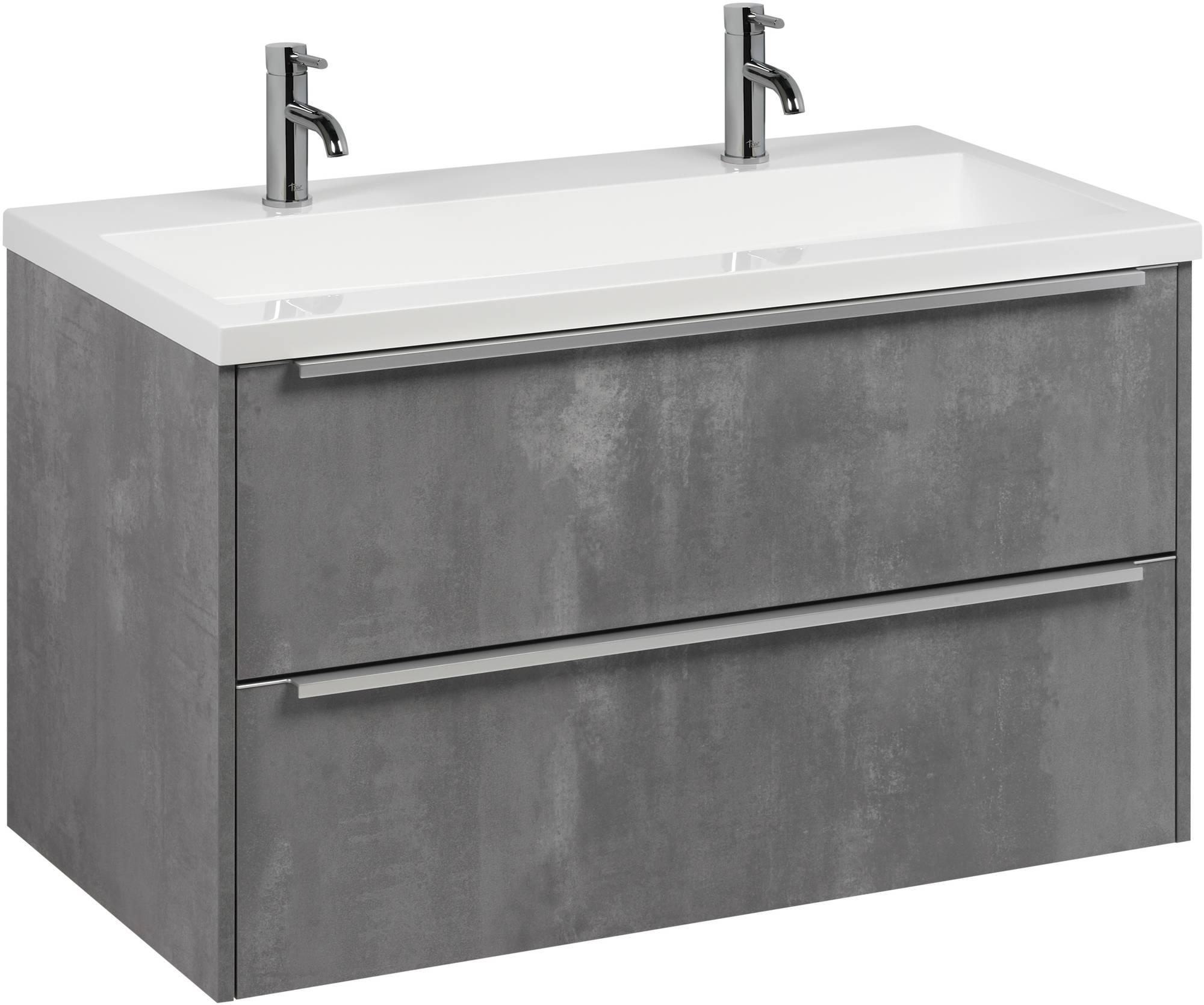Saniselect Socan meubelset met mineraalmarmere wastafel 100cm Beton Grijs/Chroom