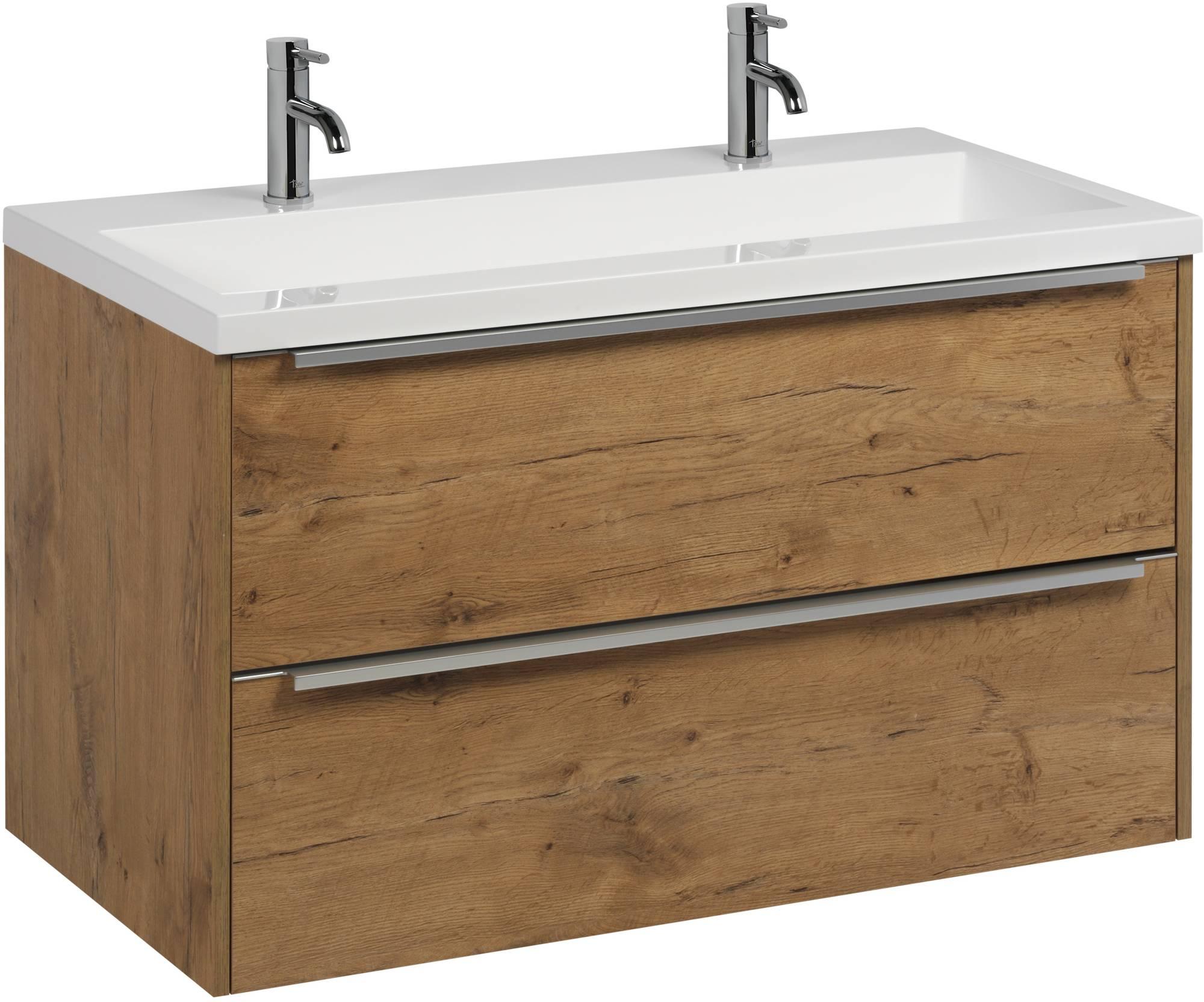 Saniselect Socan meubelset met mineraalmarmere wastafel 100cm Wild Eiken/Chroom