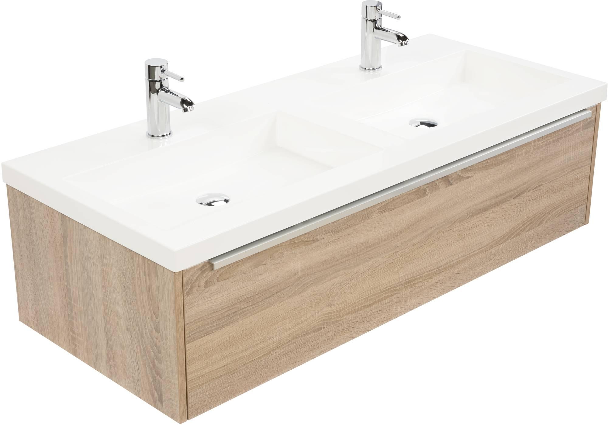 Saniselect Socan meubelset 1 lade met dubbele mineraalmarmere wastafel 120cm Bardolino Eiken