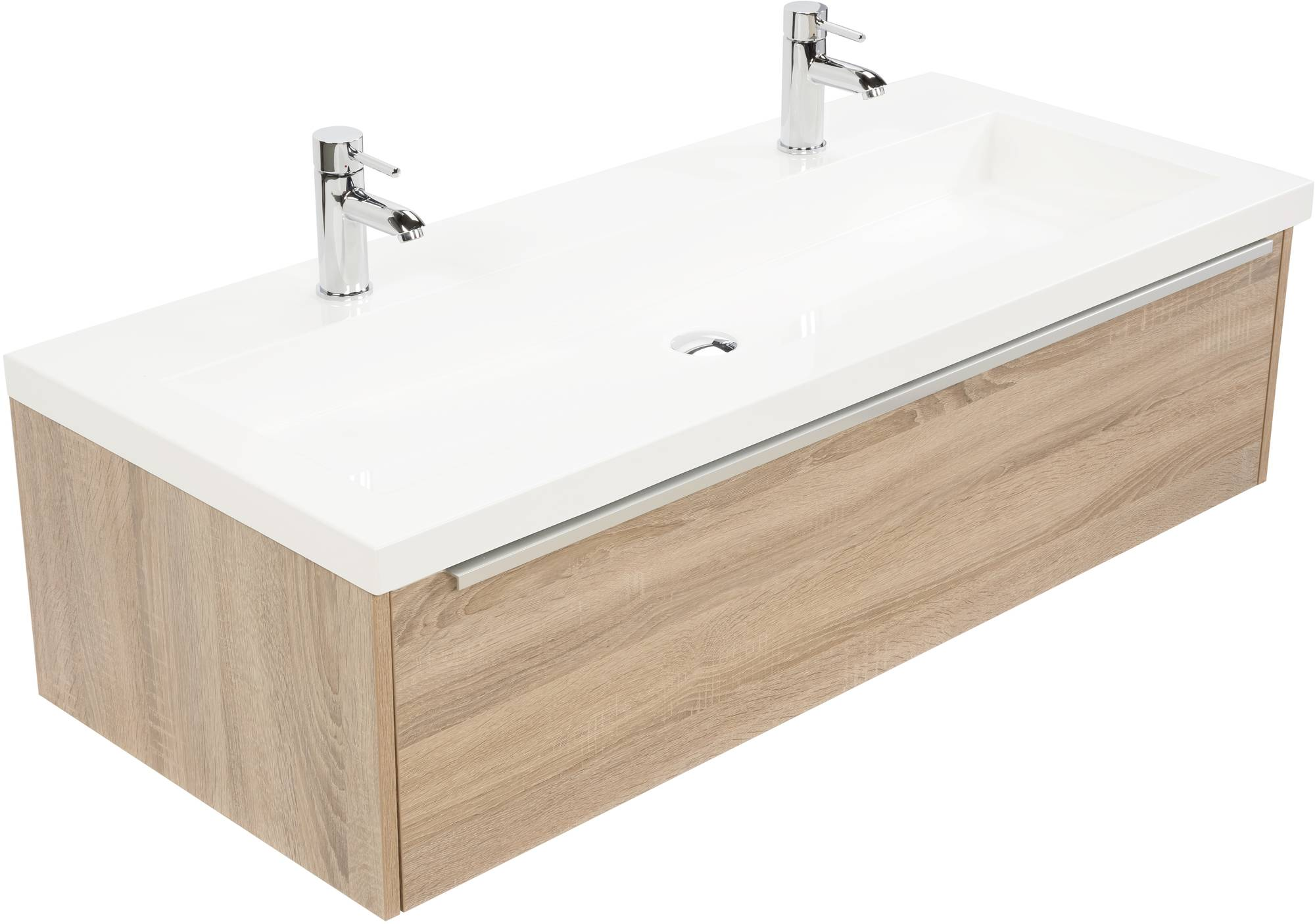 Saniselect Socan meubelset 1 lade met mineraalmarmere wastafel 120cm Bardolino Eiken