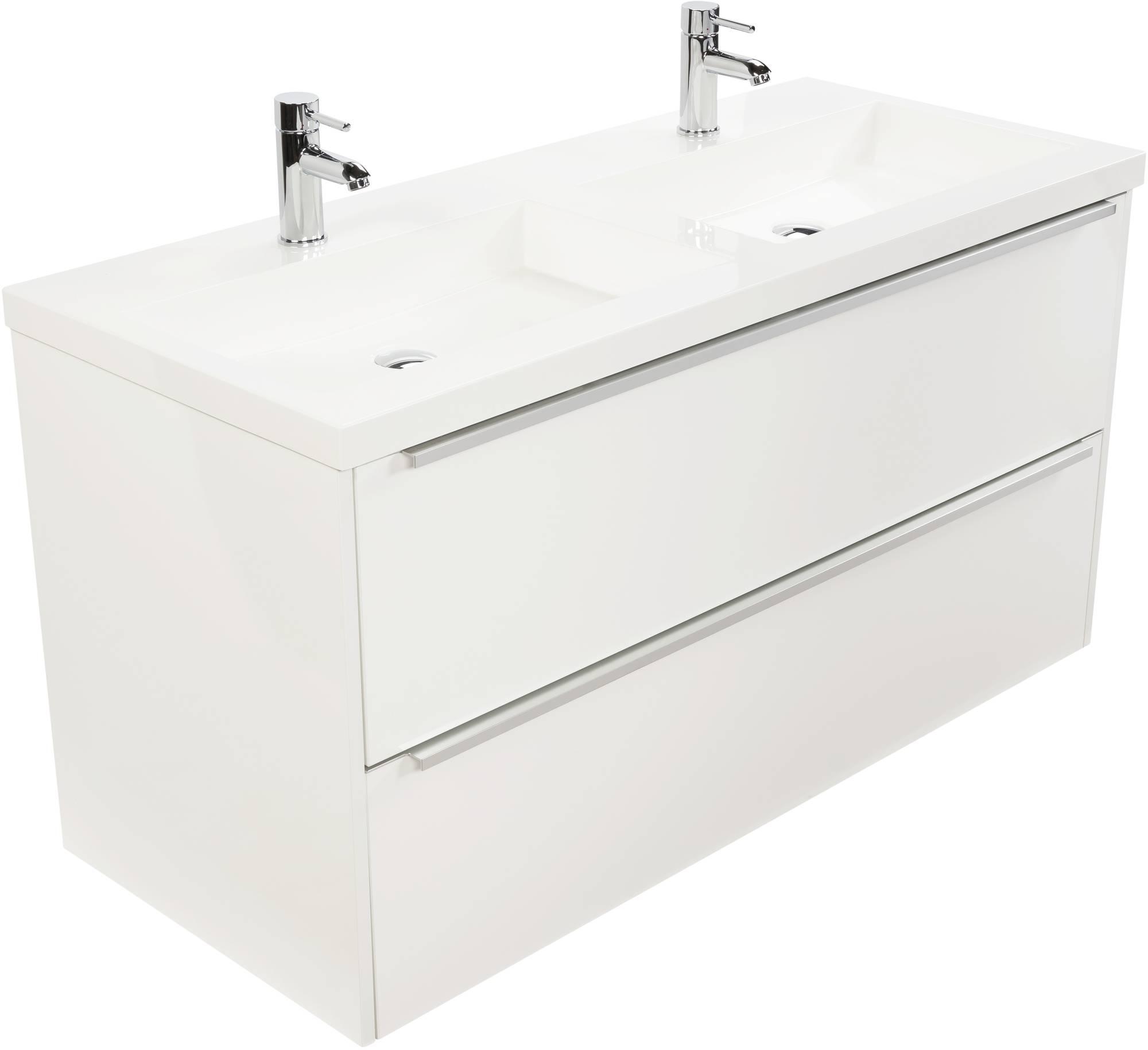 Saniselect Socan meubelset 2 lades met dubbele mineraalmarmere wastafel 120cm Mat Wit