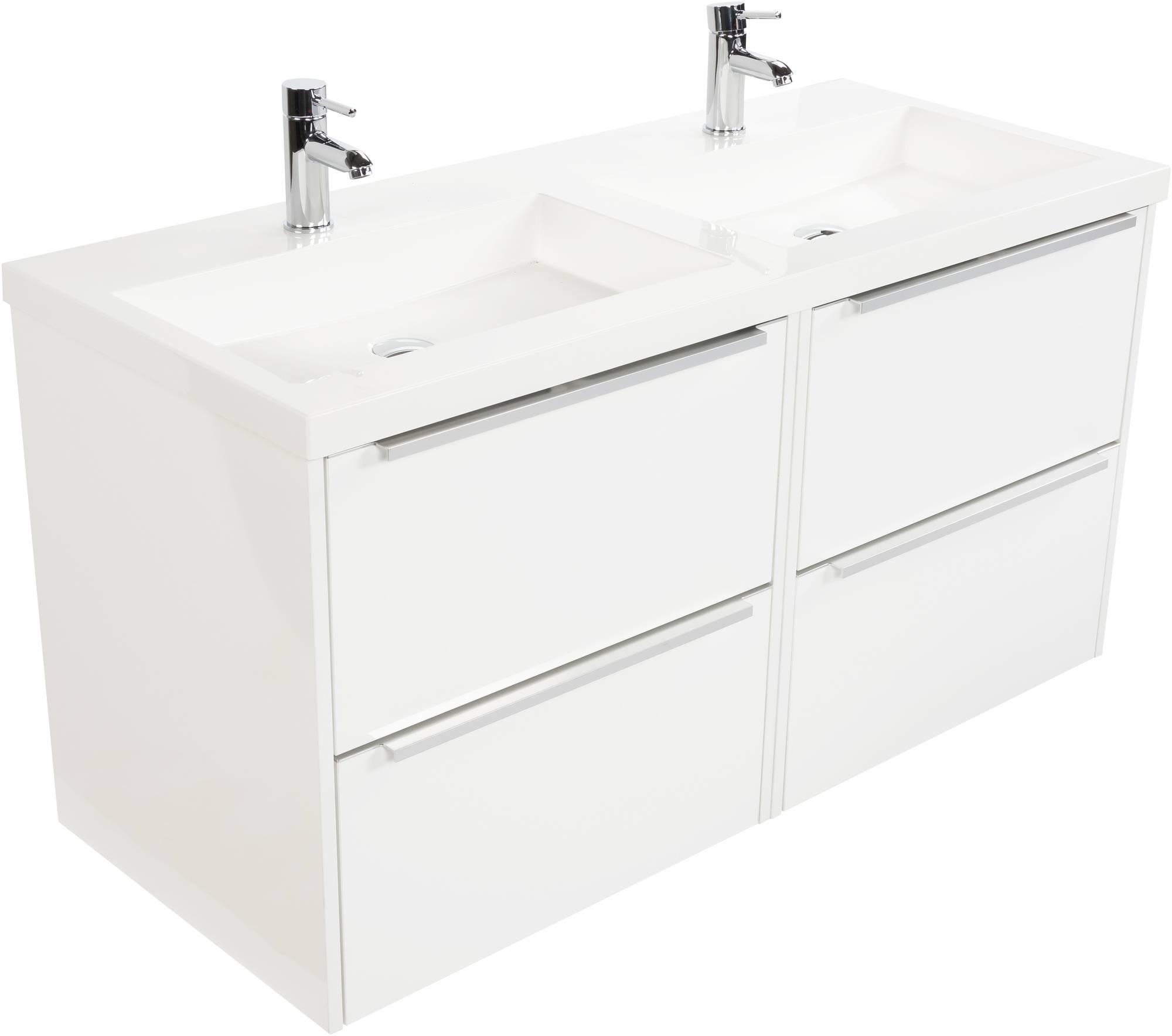 Saniselect Socan meubelset 4 lades met dubbele mineraalmarmere wastafel 120cm Glans Wit