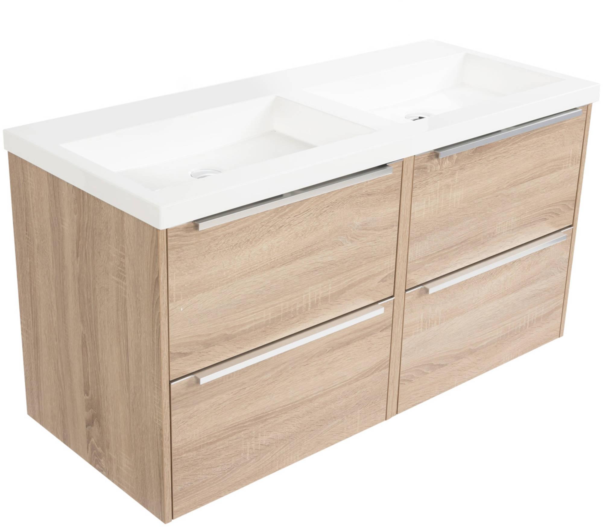 Saniselect Socan meubelset 4 lades met dubbele mineraalmarmere wastafel 120cm Bardolino Eiken Zonder