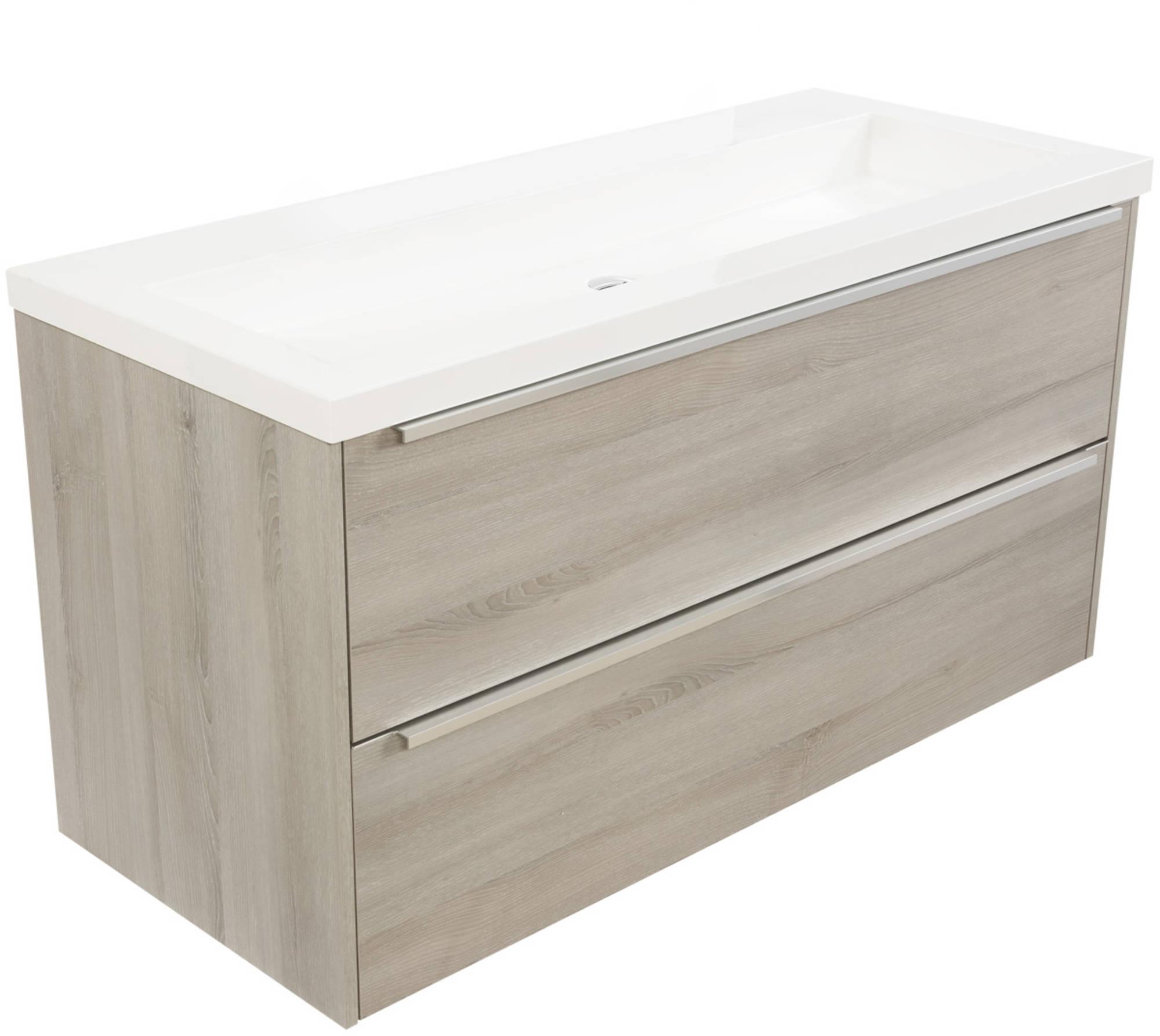 Saniselect Socan meubelset 2 lades met mineraalmarmere wastafel 120cm Litho Grijs Zonder Kraangat