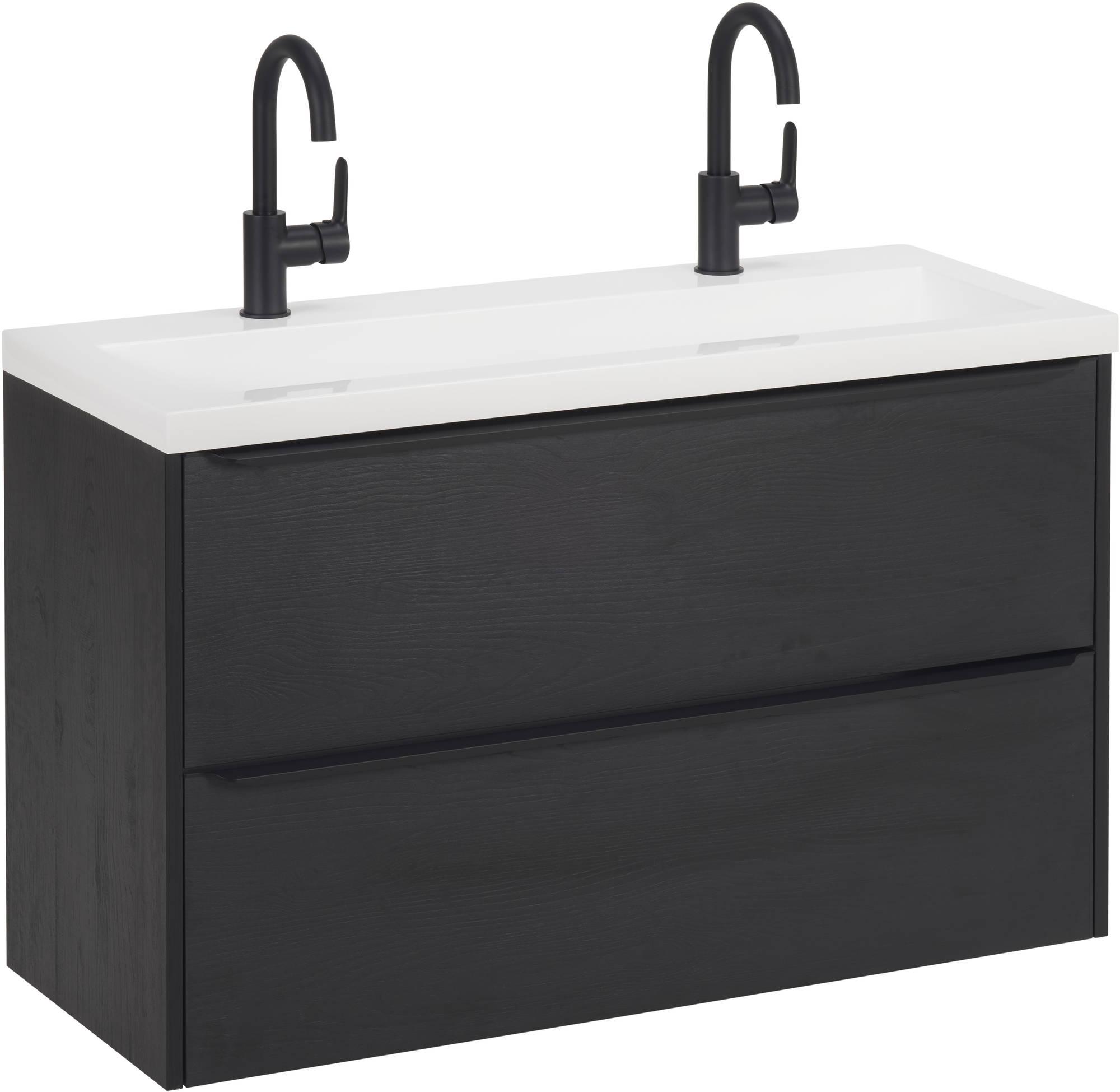 Saniselect Socan Slimline badmeubelset 100x40cm met 2 kraangaten Eiken Zwart/Zwart