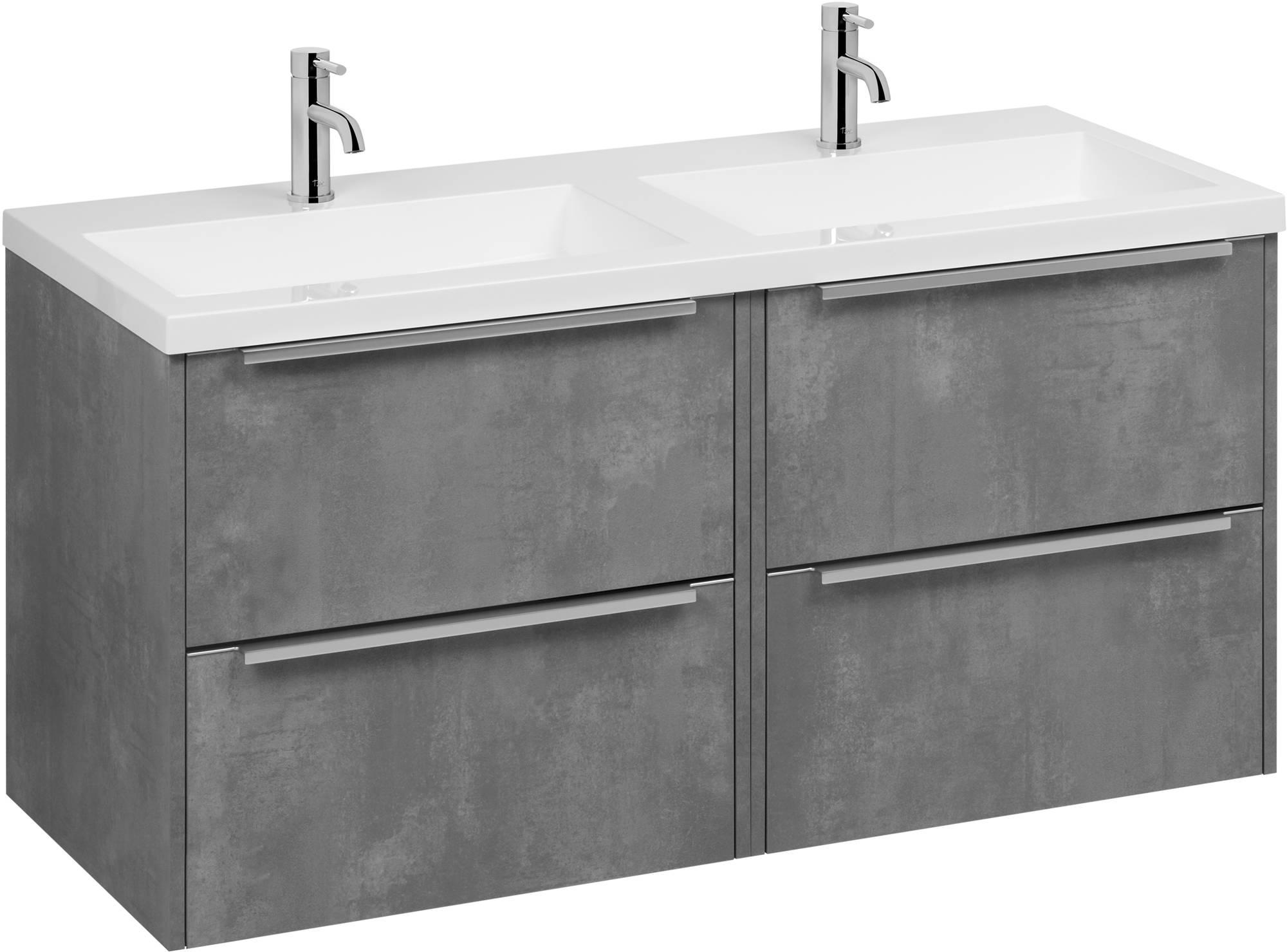 Saniselect Socan badmeubelset met 4 lades en dubbele wasbak 120cm beton grijs