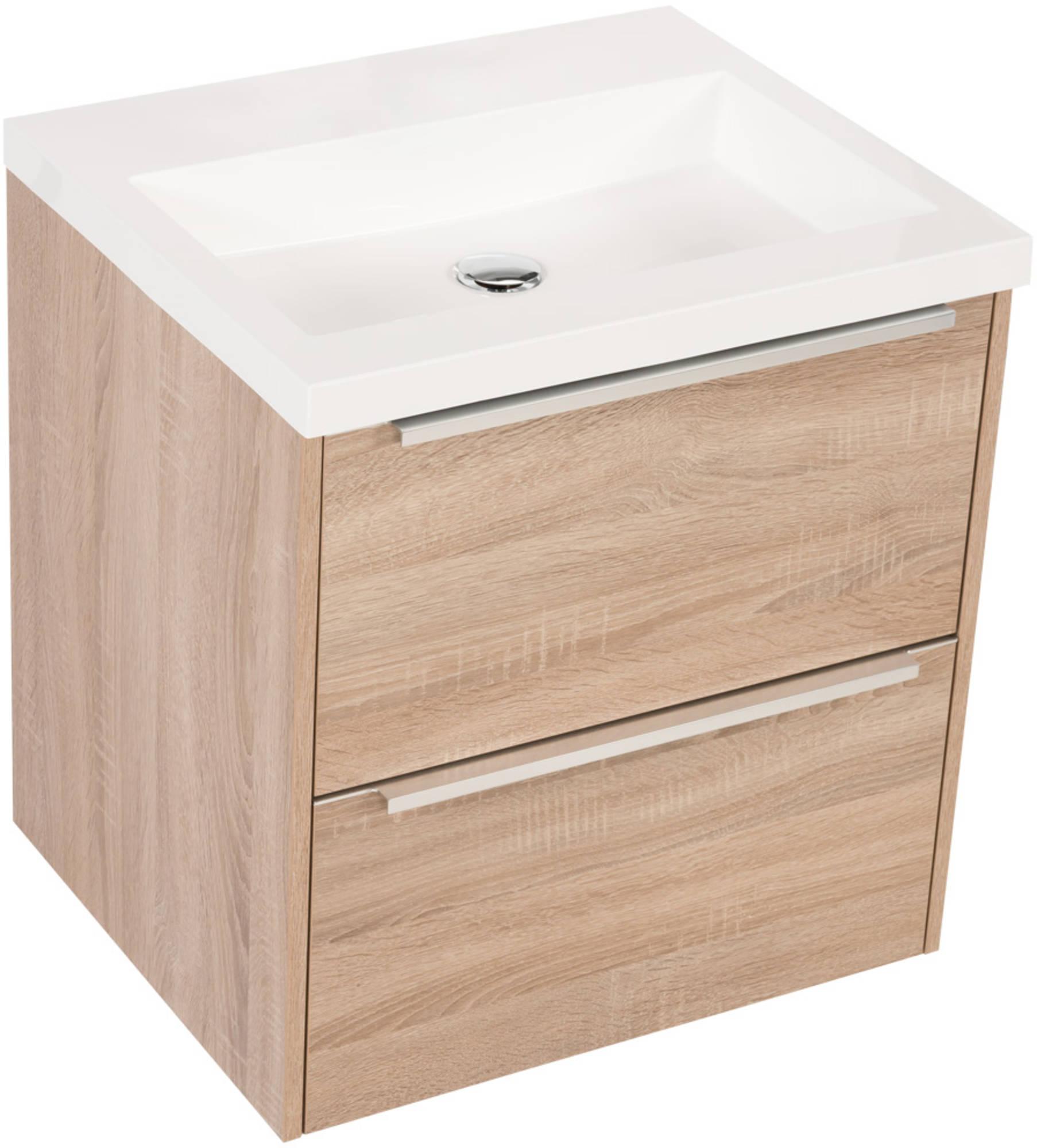 Saniselect Socan meubelset 2 lades met mineraalmarmere wastafel 60cm Bardolino Eiken Zonder Kraangat