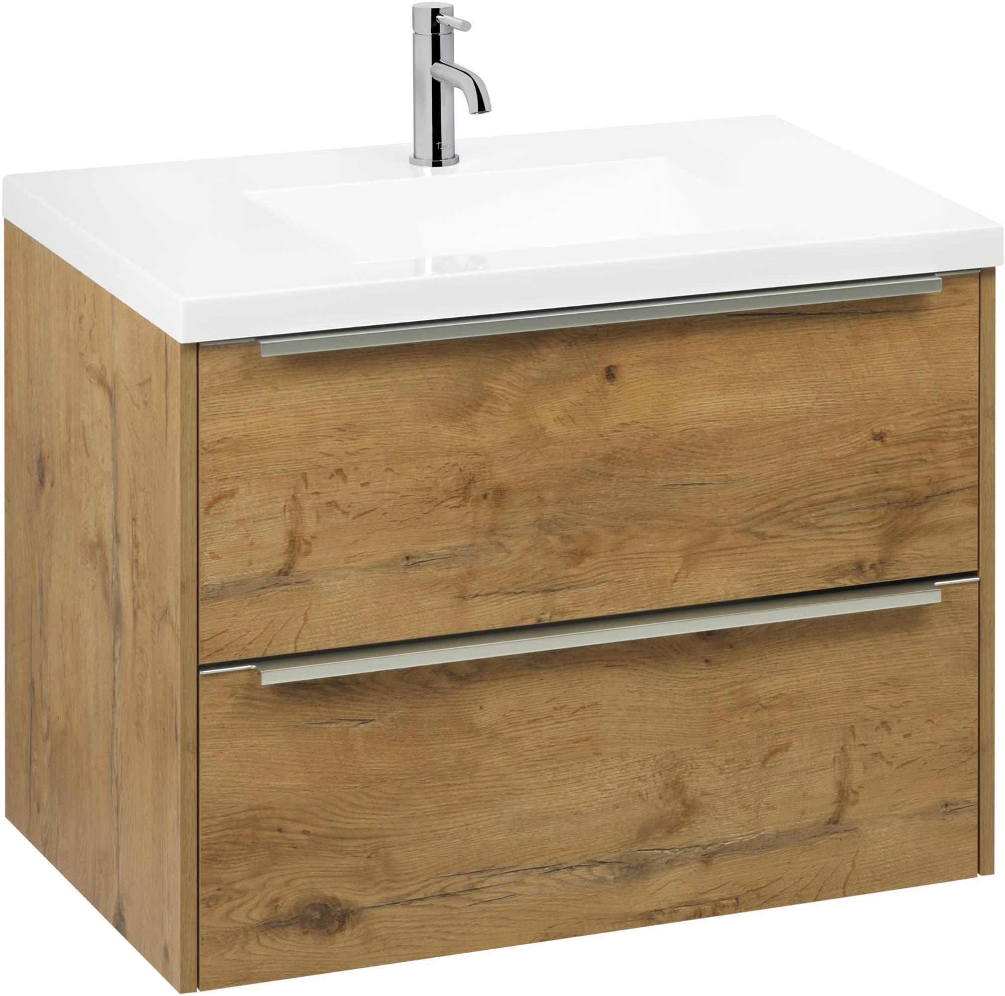 Saniselect Socan meubelset met mineraalmarmere wastafel 80cm Wild Eiken/Chroom