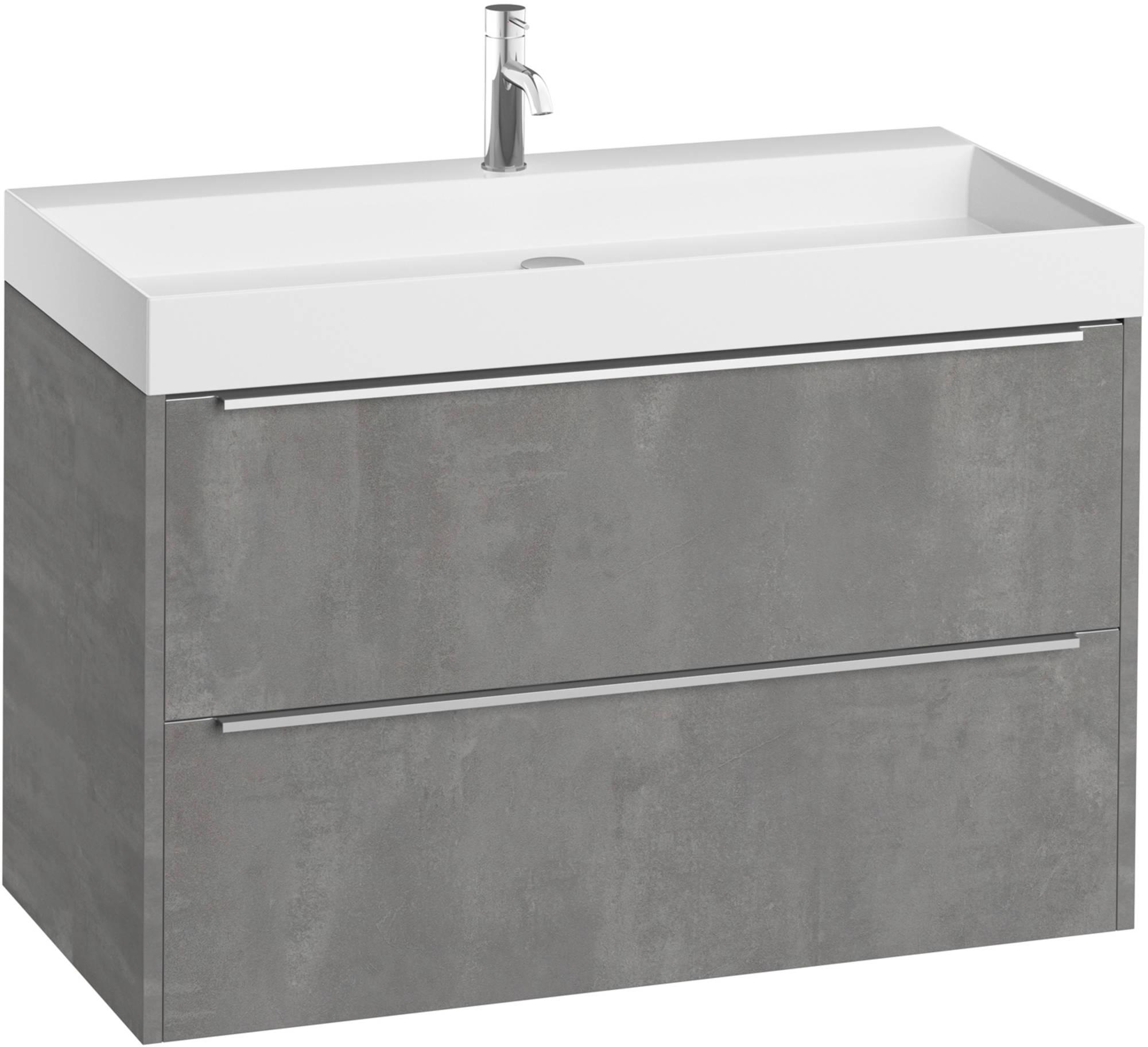 Saniselect Socan meubelset 2 lades hoge mineraalmarmeren wastafel 100cm 1 kraangat Beton Grijs/Chroo