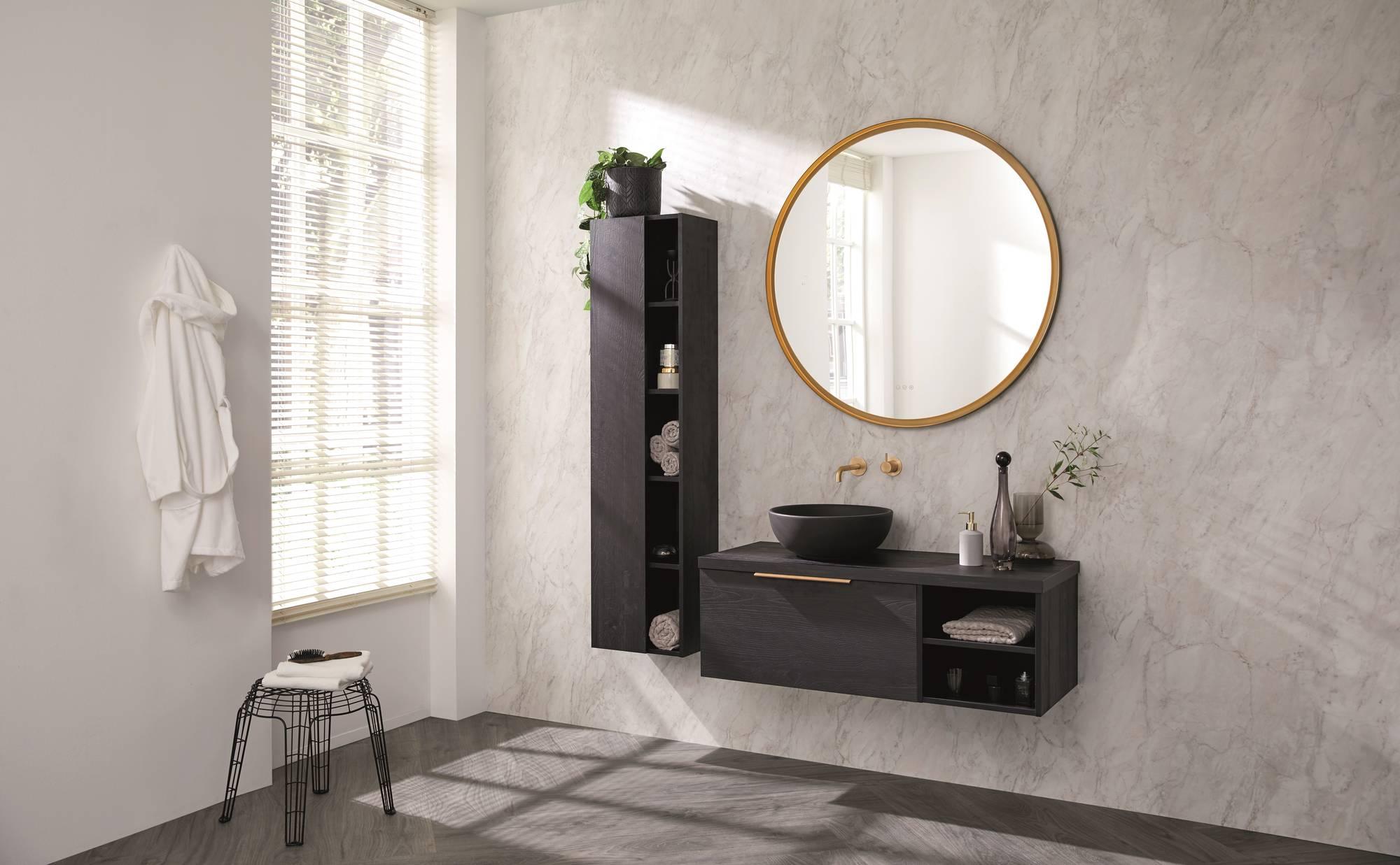 Thebalux Stone badmeubelset 120x50cm Sherwood Nero met wastafelblad en betonnen waskom