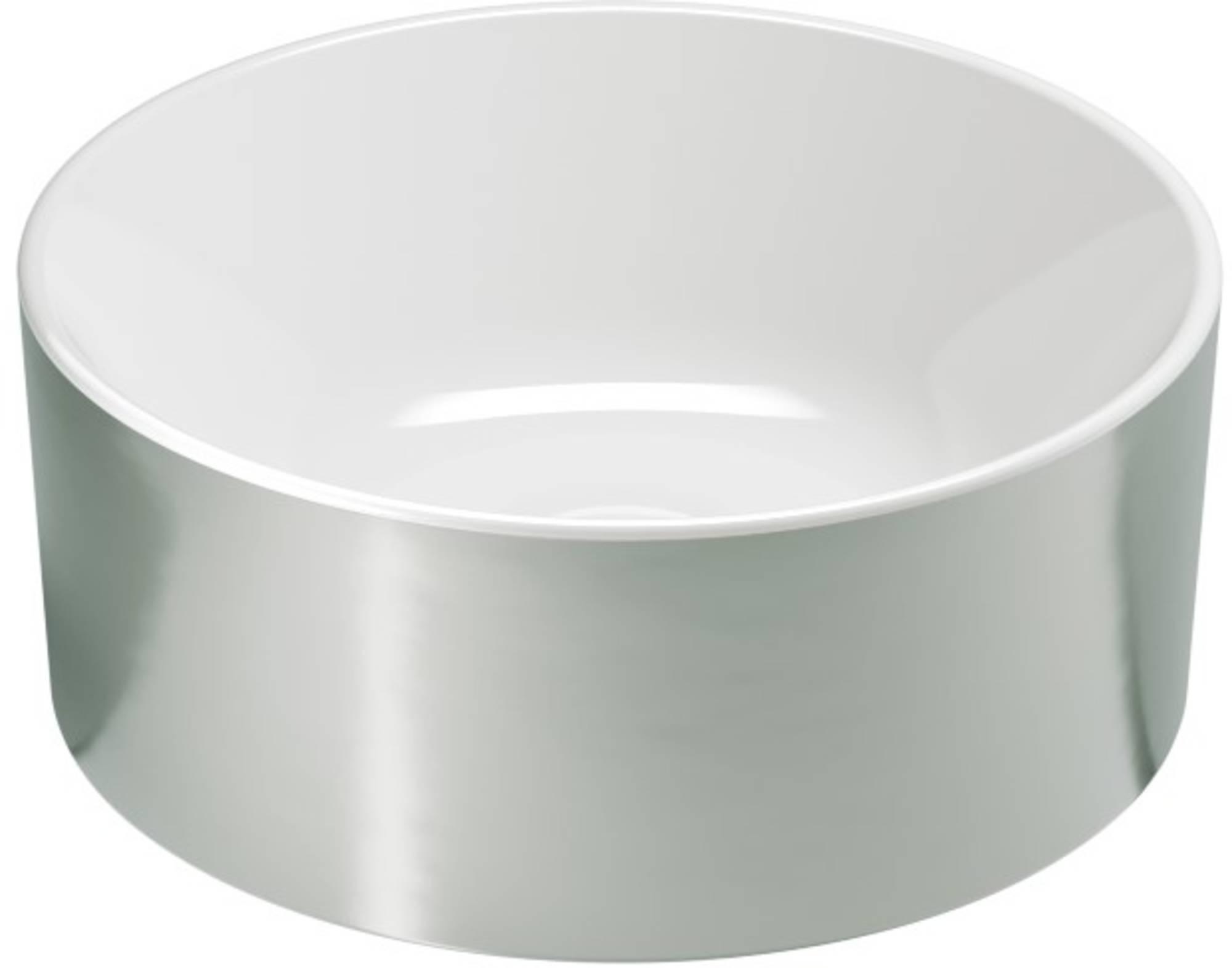 Ben Stelvio Opbouwwastafel Xtra Glaze Ø 32x12 cm Platinum/Glans Wit
