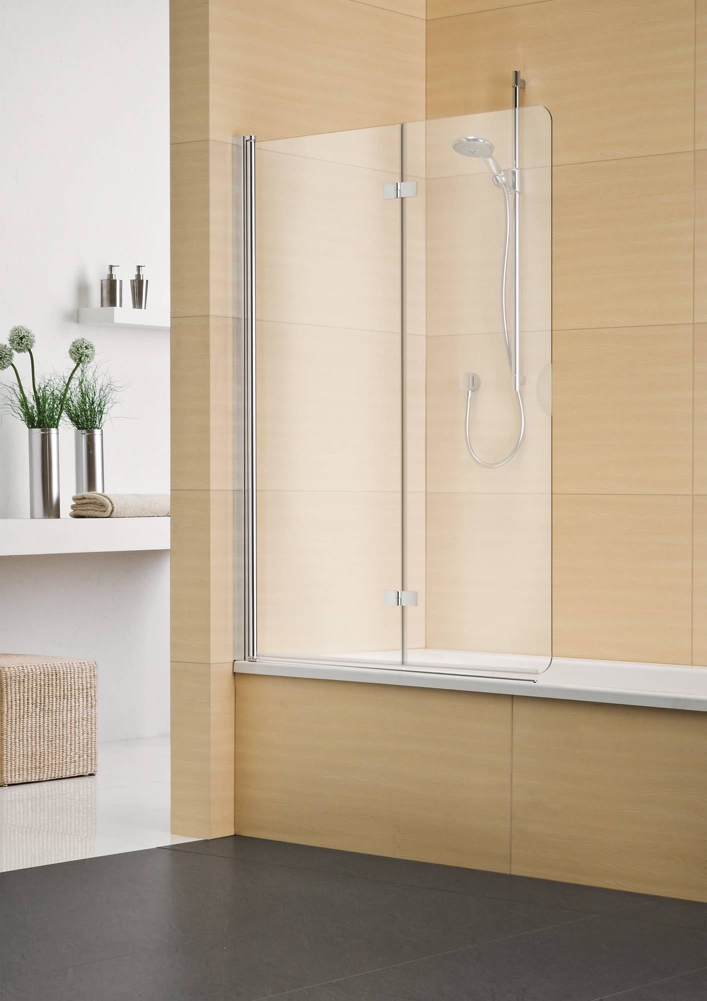 Sealskin Duka Multi vouw-pendel badwand 2-dlg R.vast 140(B)x150(H) cm mat zilver helder glas