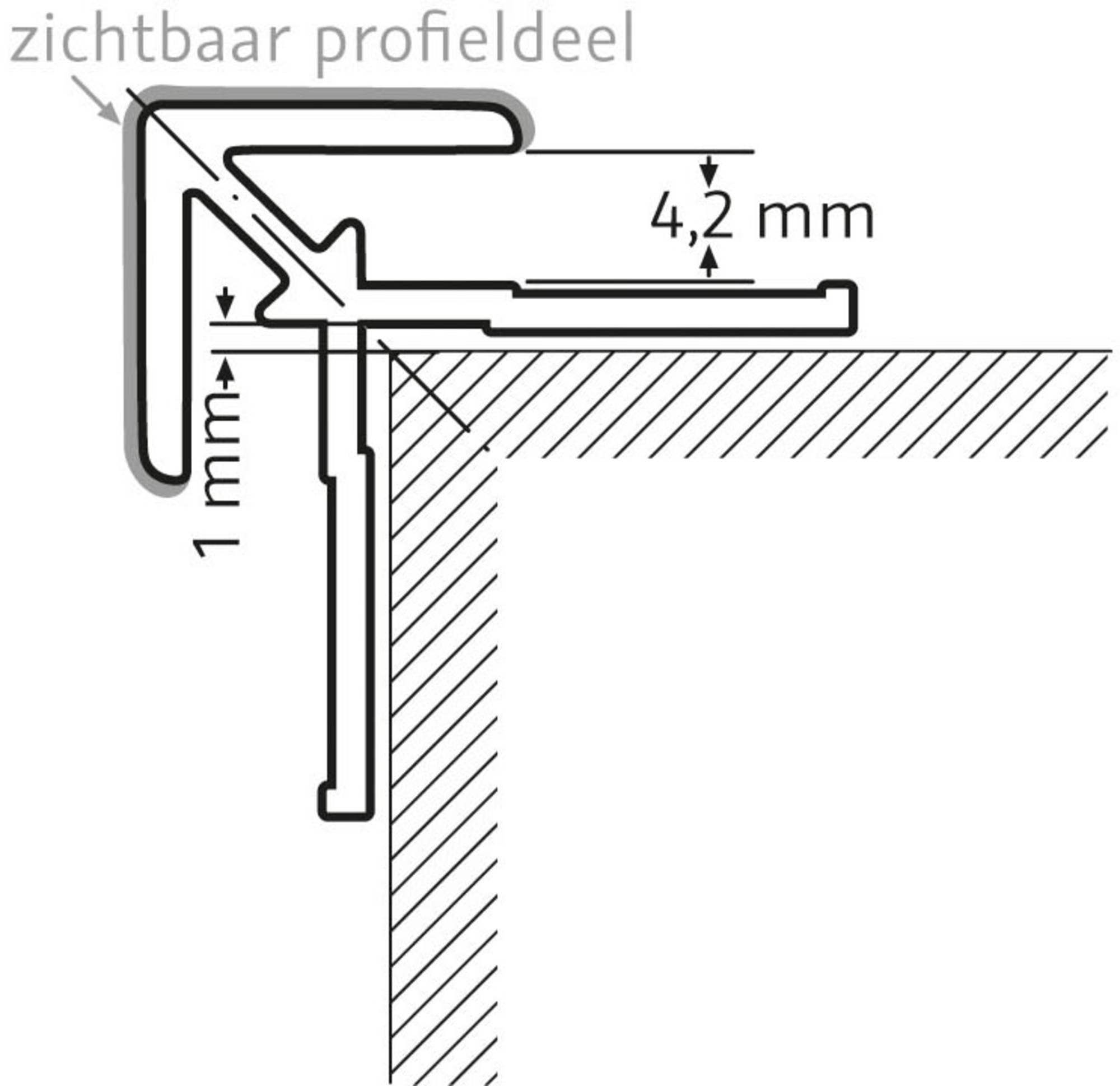 Duschprofi RenoDeco hoekprofiel 2,3x2,3 cm mat zwart