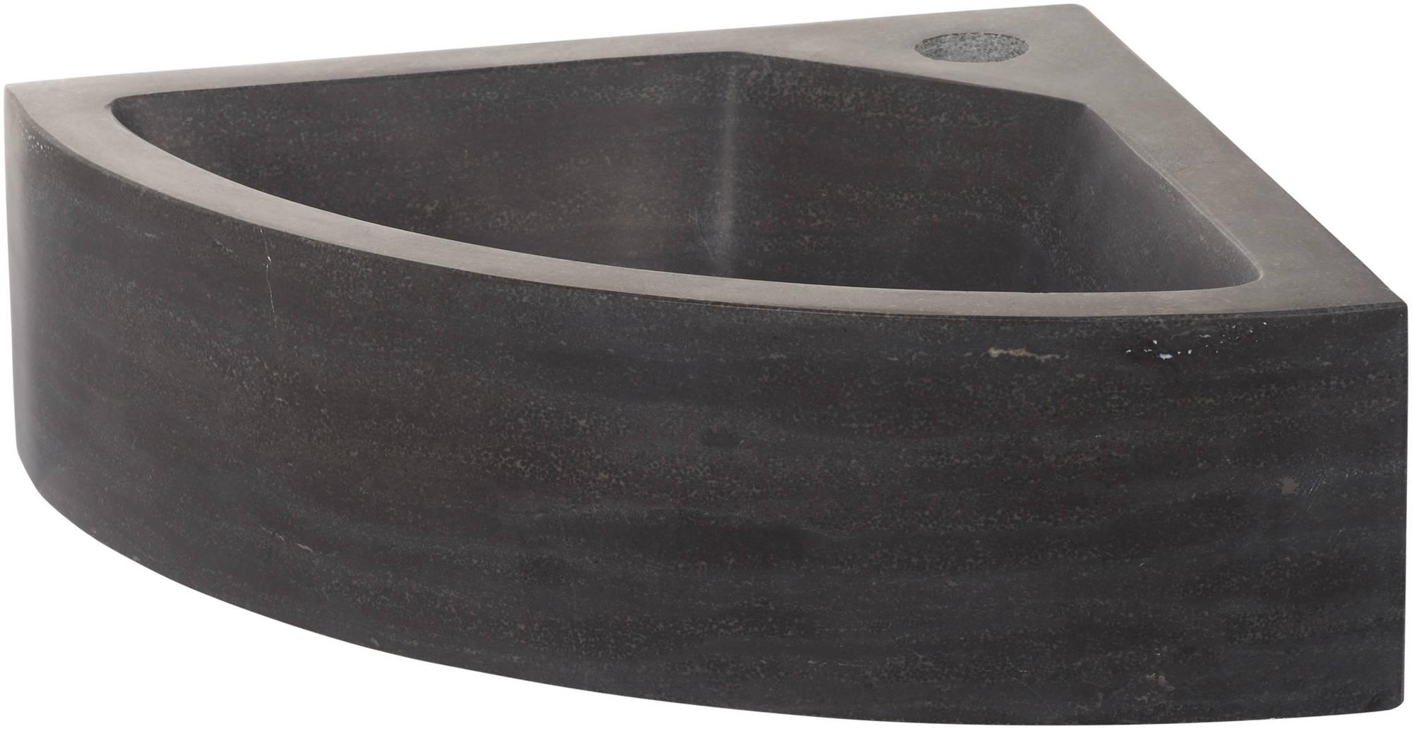Saniselect Hoekfontein 1 kraangat 30x30x10 cm Hardstenen Zwart