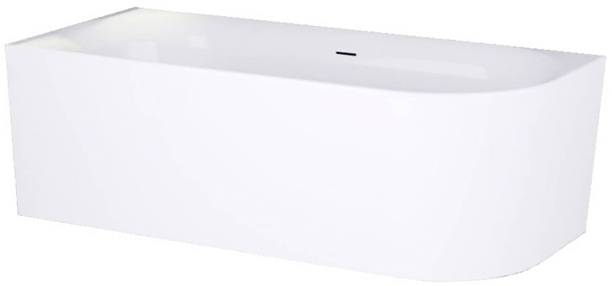 Ben Vico Bad Back to Wall L met Sleuf 155x80x60,5 cm Glans Wit