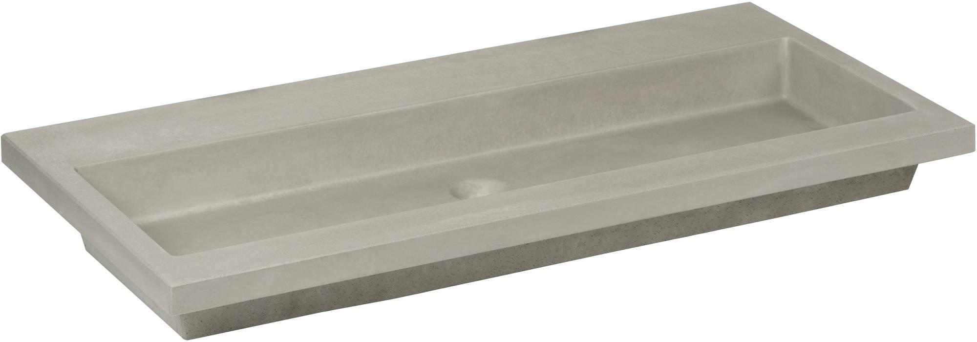 Ben Concrete Wastafel enkel 120x51cm zonder kraangat Beton
