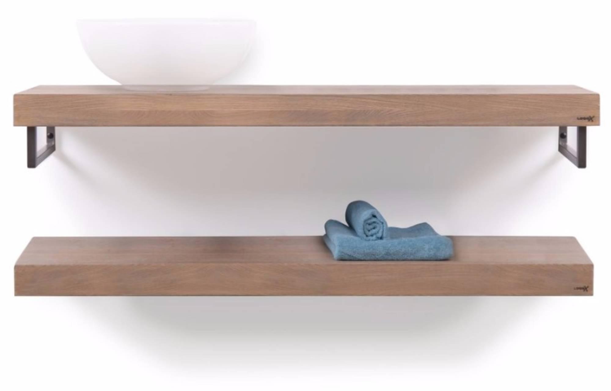 Looox Wooden Base Shelf Duo Eiken 120 cm Old Grey/RVS