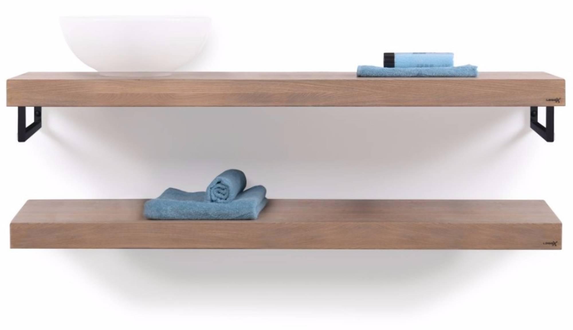 Looox Wooden Base Shelf Duo Eiken 140 cm Old Grey/Mat Zwart
