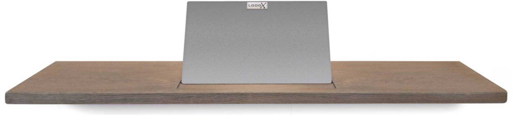 Looox Wooden Collection bath shelf met houder geborsteld rvs eiken/geborsteld rvs