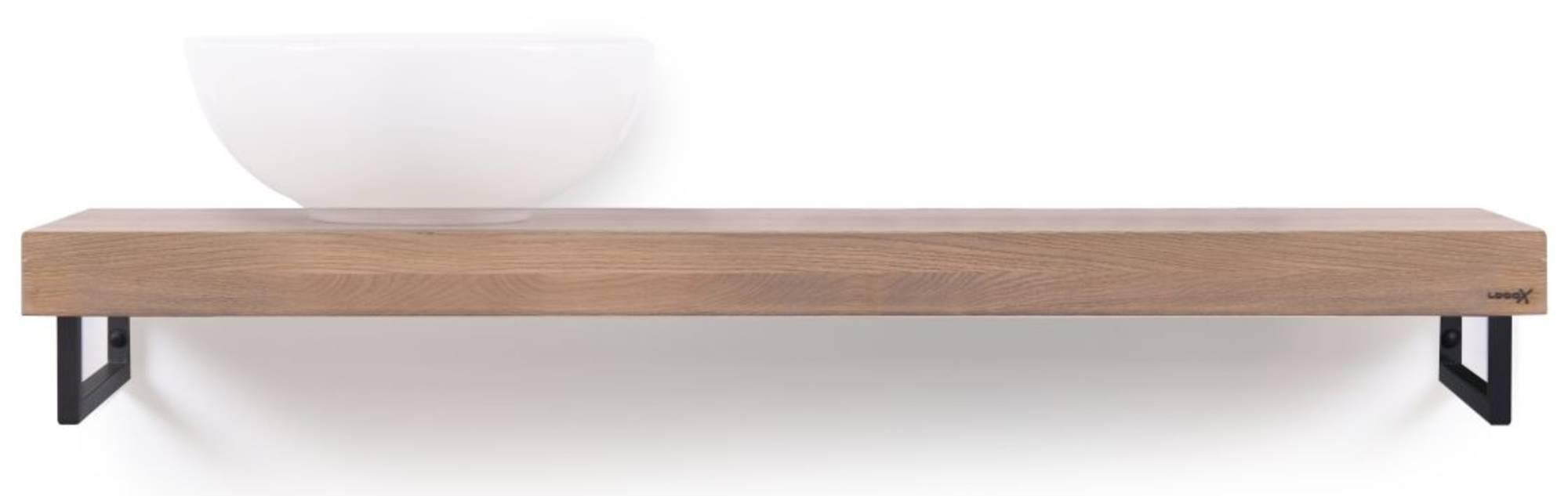 Looox Wooden Base Shelf Solo Eiken 120 cm Old Grey/Mat Zwart