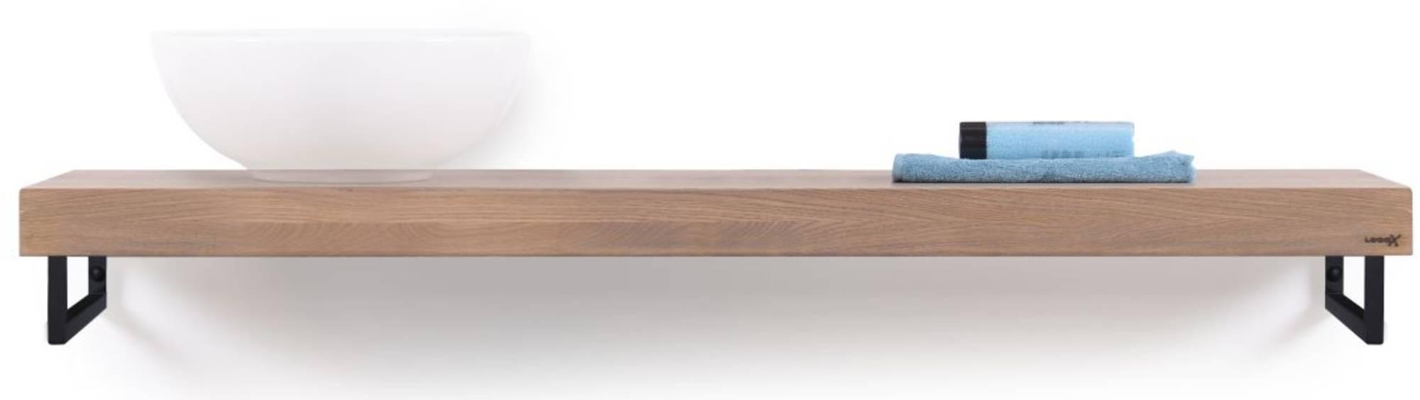 Looox Wooden Base Shelf Solo Eiken 140 cm Old Grey/Mat Zwart