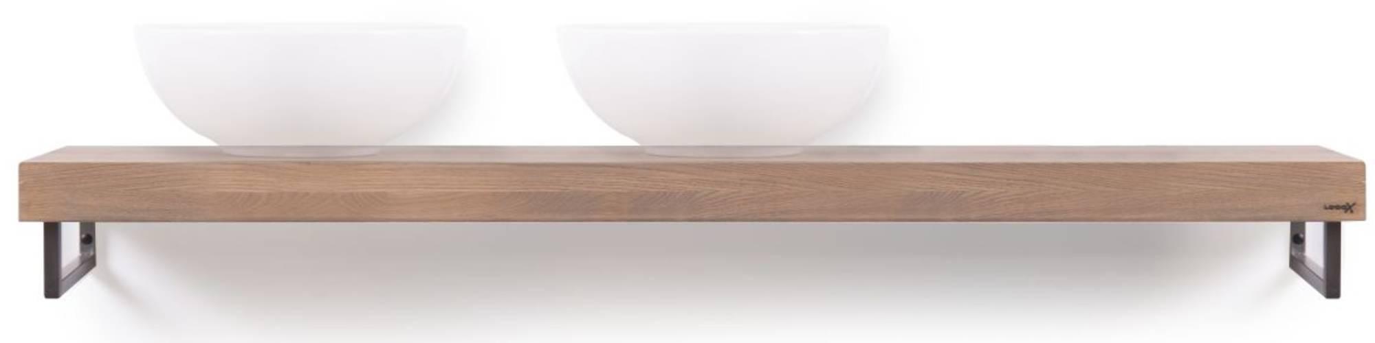 Looox Wooden Base Shelf Solo Eiken 160 cm Old Grey/RVS