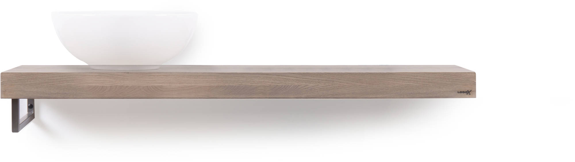 Looox Wooden Base Shelf Solo 120 cm Houder Links Old Grey/RVS
