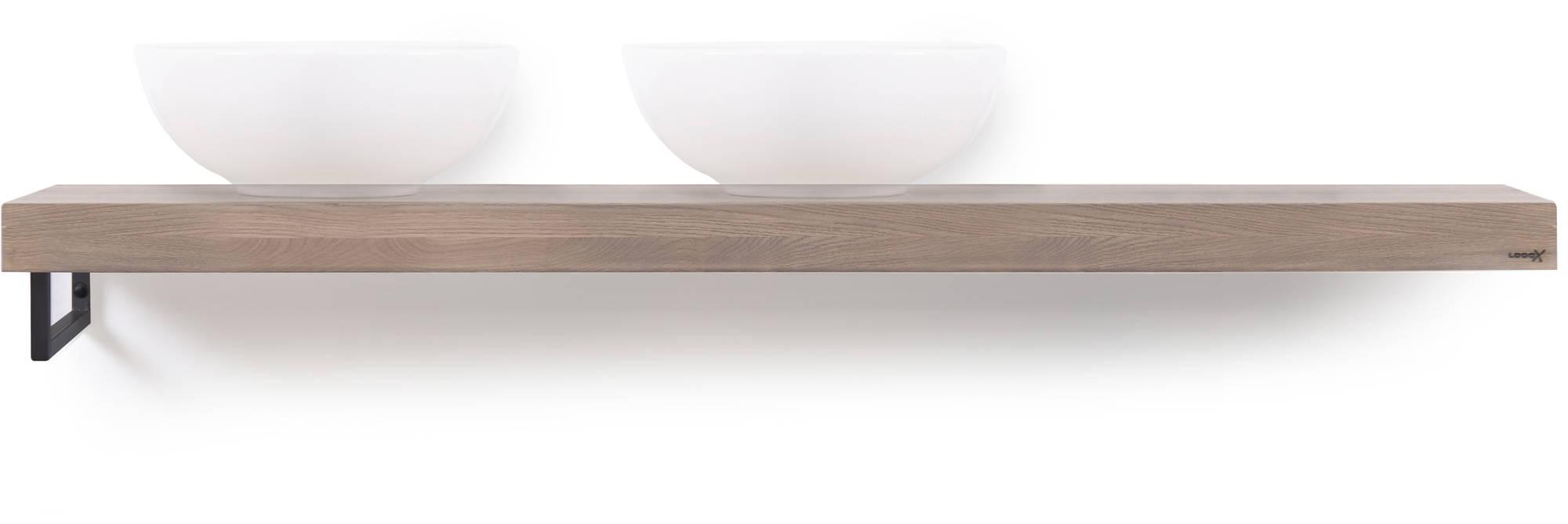 Looox Wooden Base Shelf Solo 160 cm Houder Links Old Grey/Mat Zwart
