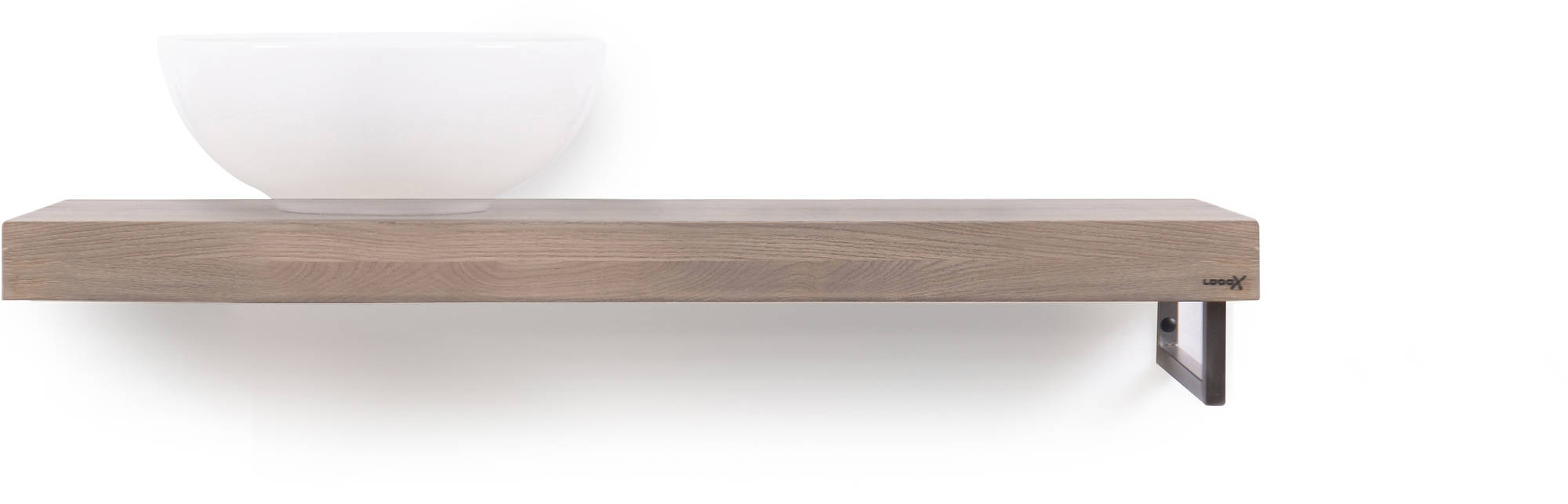 Looox Wooden Base Shelf Solo 100 cm Houder Rechts Old Grey/RVS