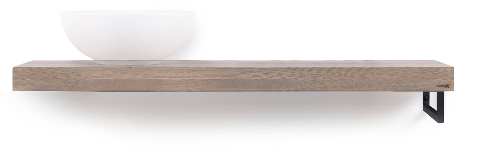 Looox Wooden Base Shelf Solo 120 cm Houder Rechts Old Grey/Mat Zwart