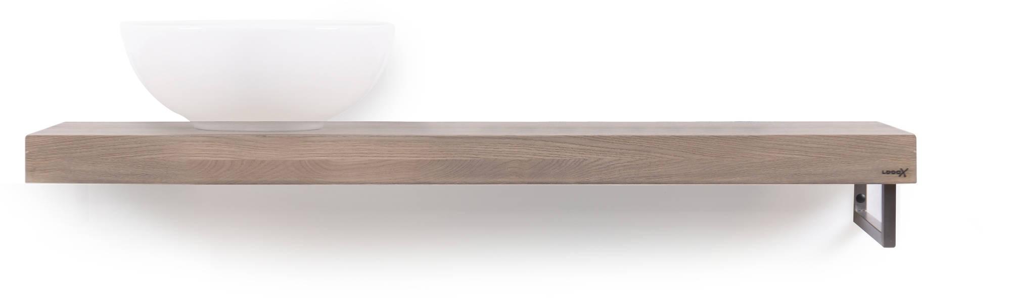 Looox Wooden Base Shelf Solo 120 cm Houder Rechts Old Grey/RVS