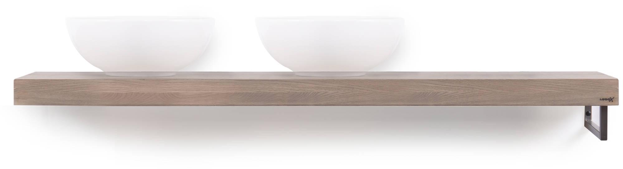 Looox Wooden Base Shelf Solo 160 cm Houder Rechts Old Grey/RVS