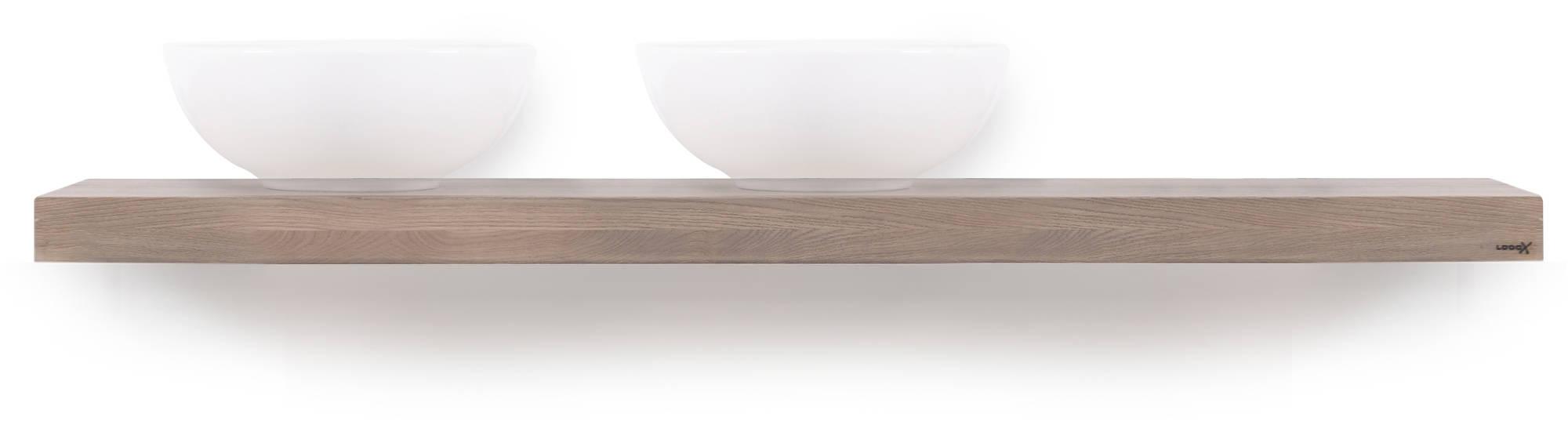 Looox Wooden Base Shelf Solo Eiken 160 cm Old Grey/Mat Zwart