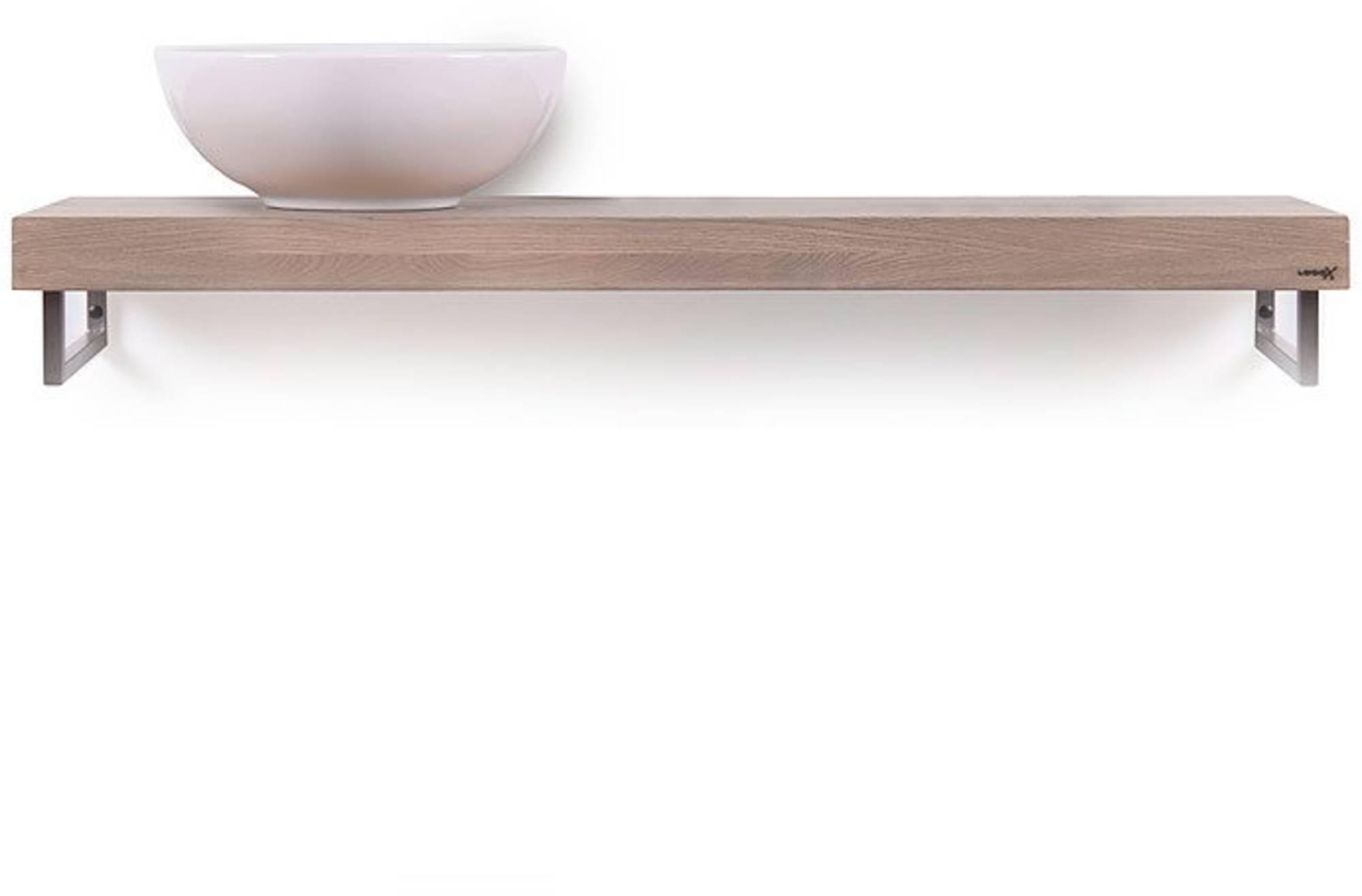 Looox Wooden Base Shelf Solo Eiken 100 cm Old Grey/Mat Zwart
