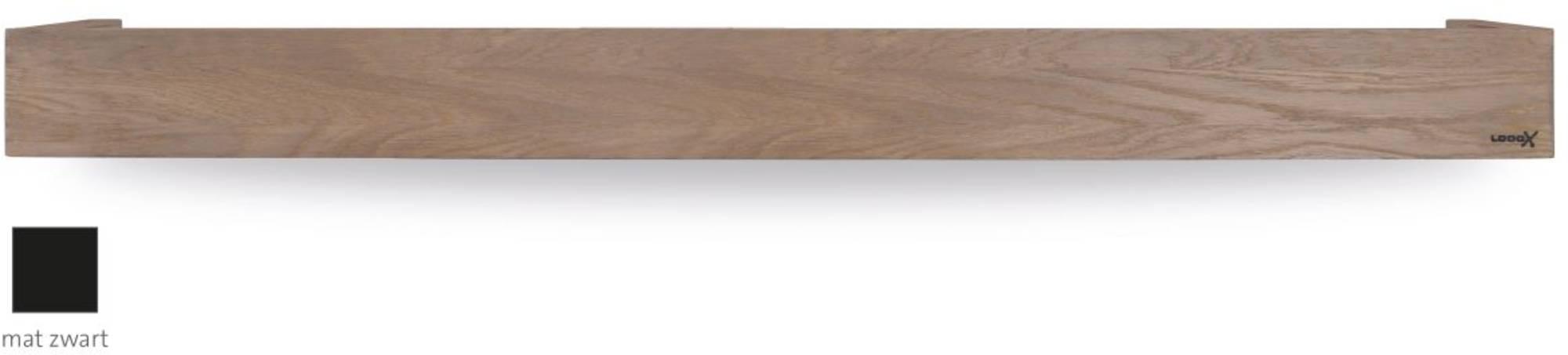 Looox Wooden Collection shelf box met bodemplaat mat zwart eiken/mat zwart