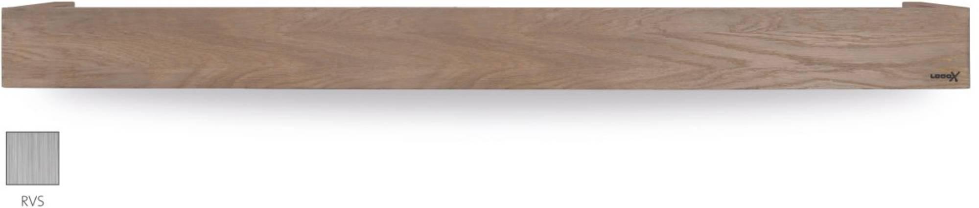 Looox Wooden Collection shelf box met bodemplaat geborsteld rvs eiken/geborsteld rvs